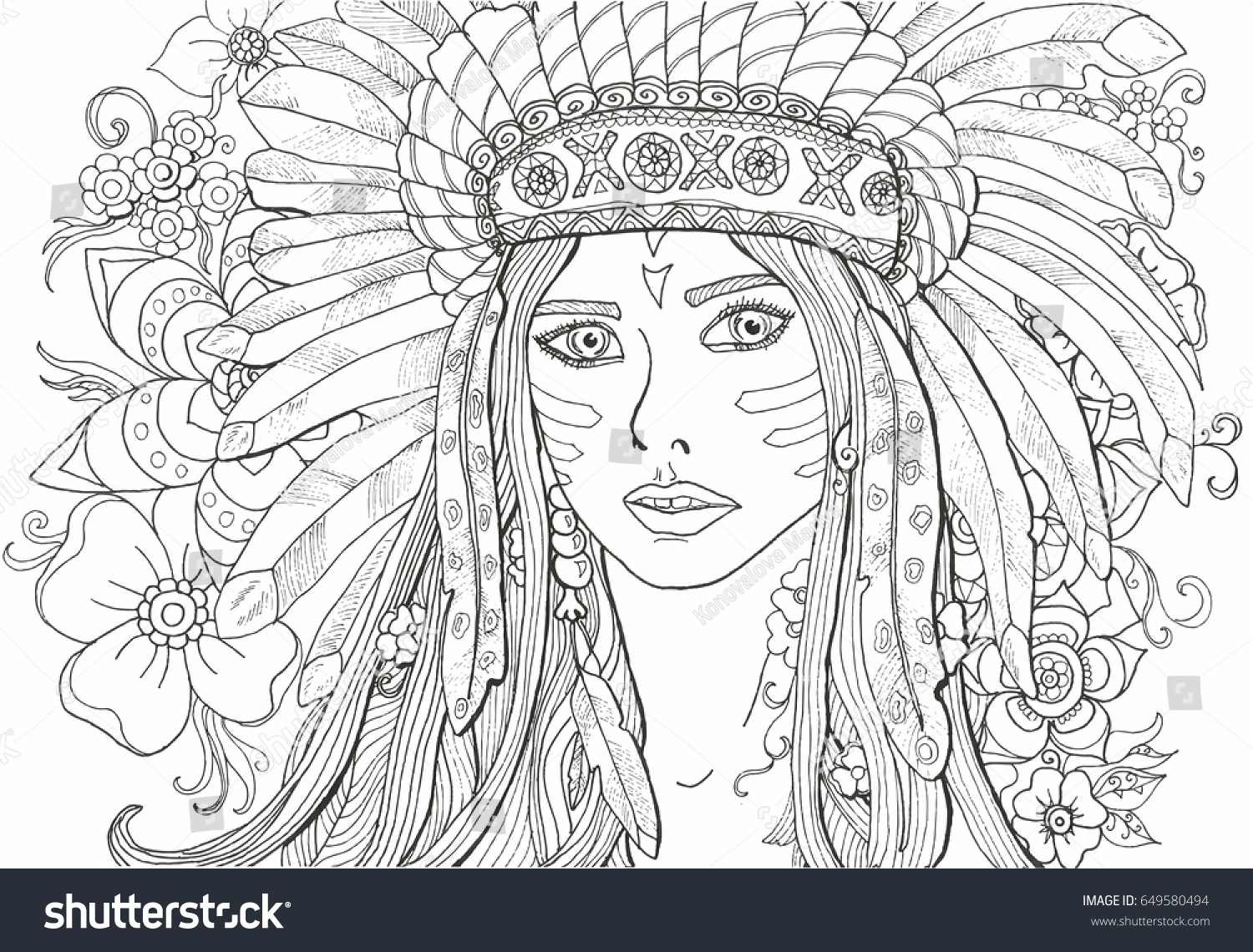 Coloring Pages Adults Girl Indian Decoration Stock Vector