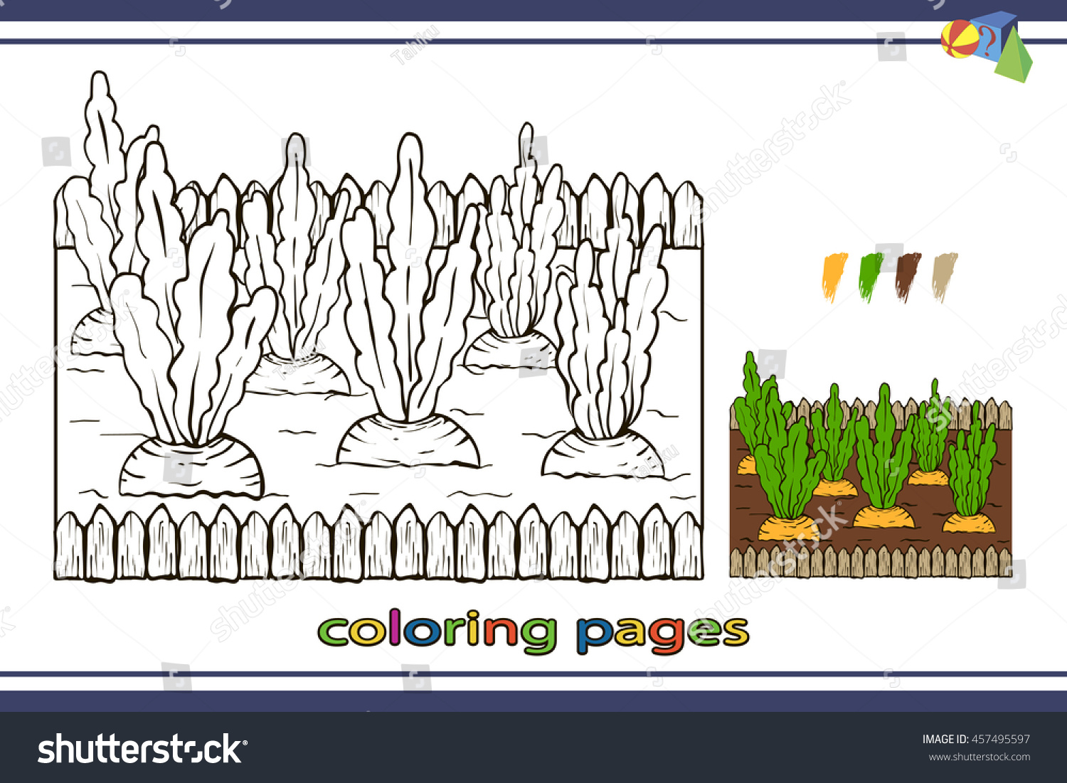 Coloring Pages For Children Vector Coloring Book Carrots