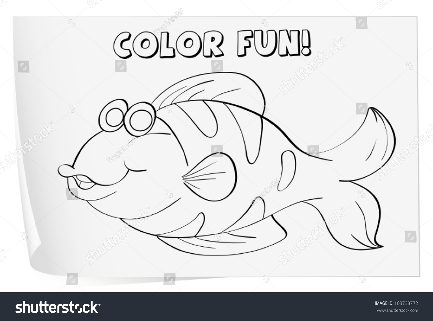 Colour Worksheet Of A Fish Fish Stock Vector