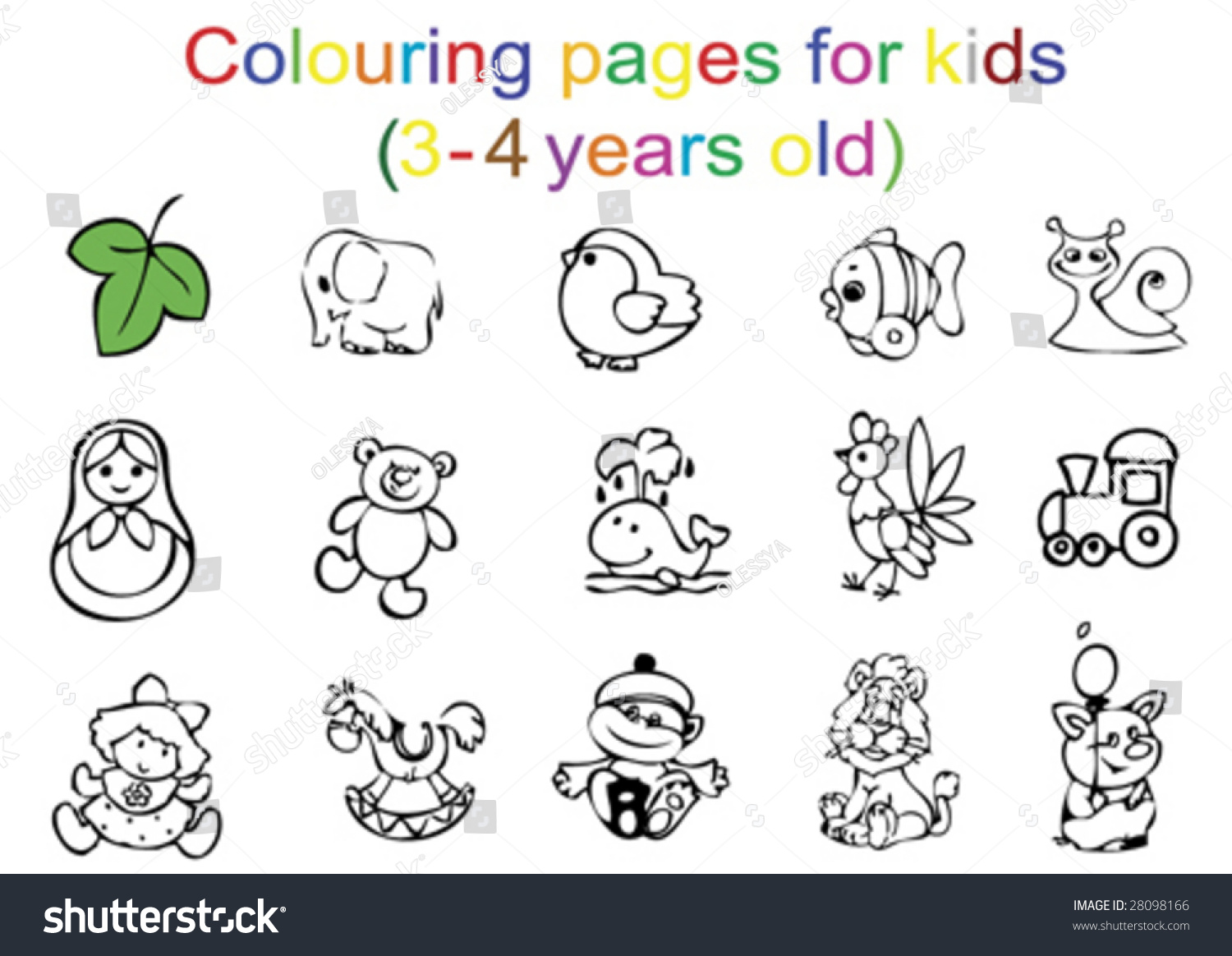 Colouring Pages For Kids 3 4 Years Old Stock Vector