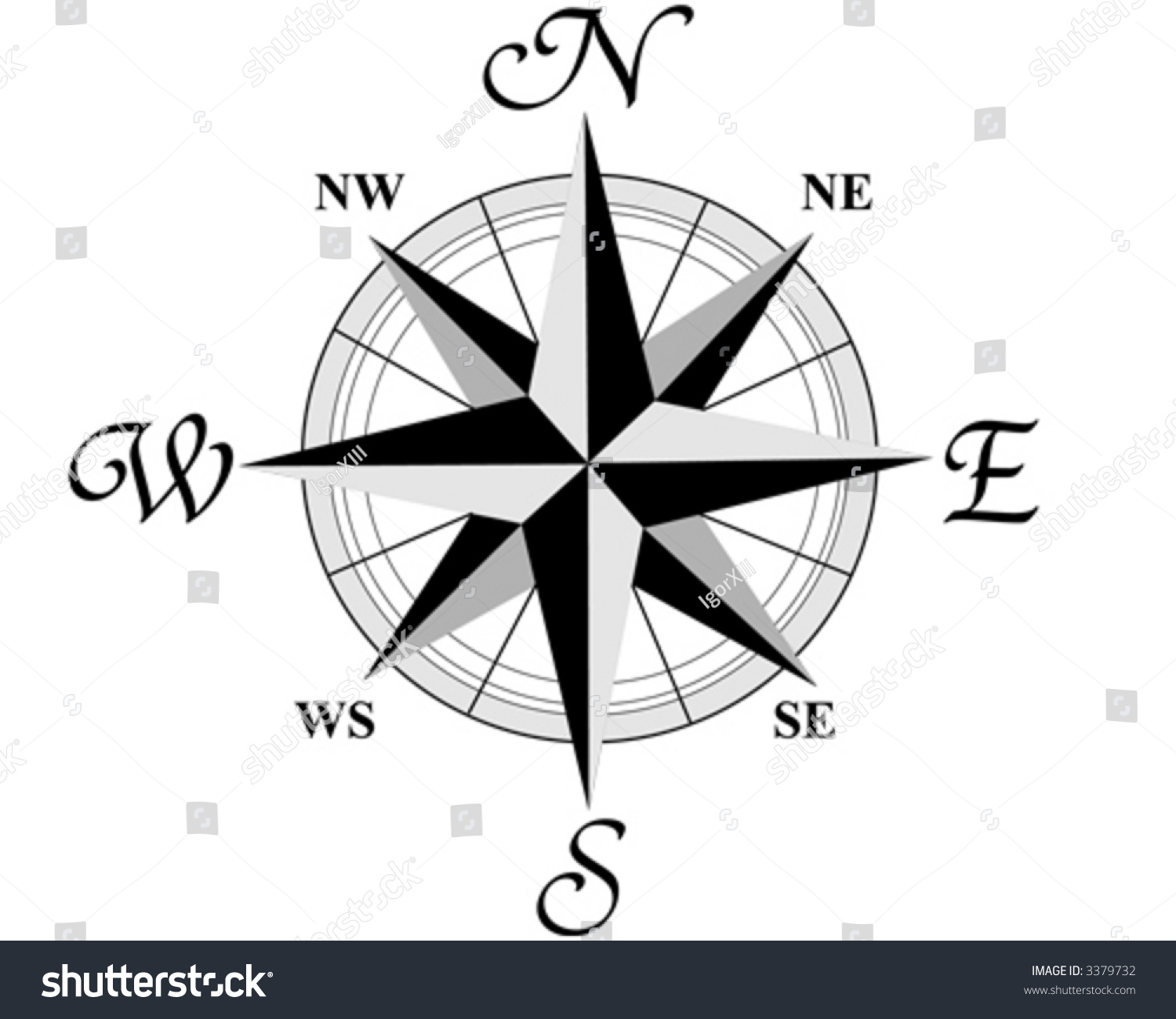 Compass Wind Rose 8 Directions World Stock Vector
