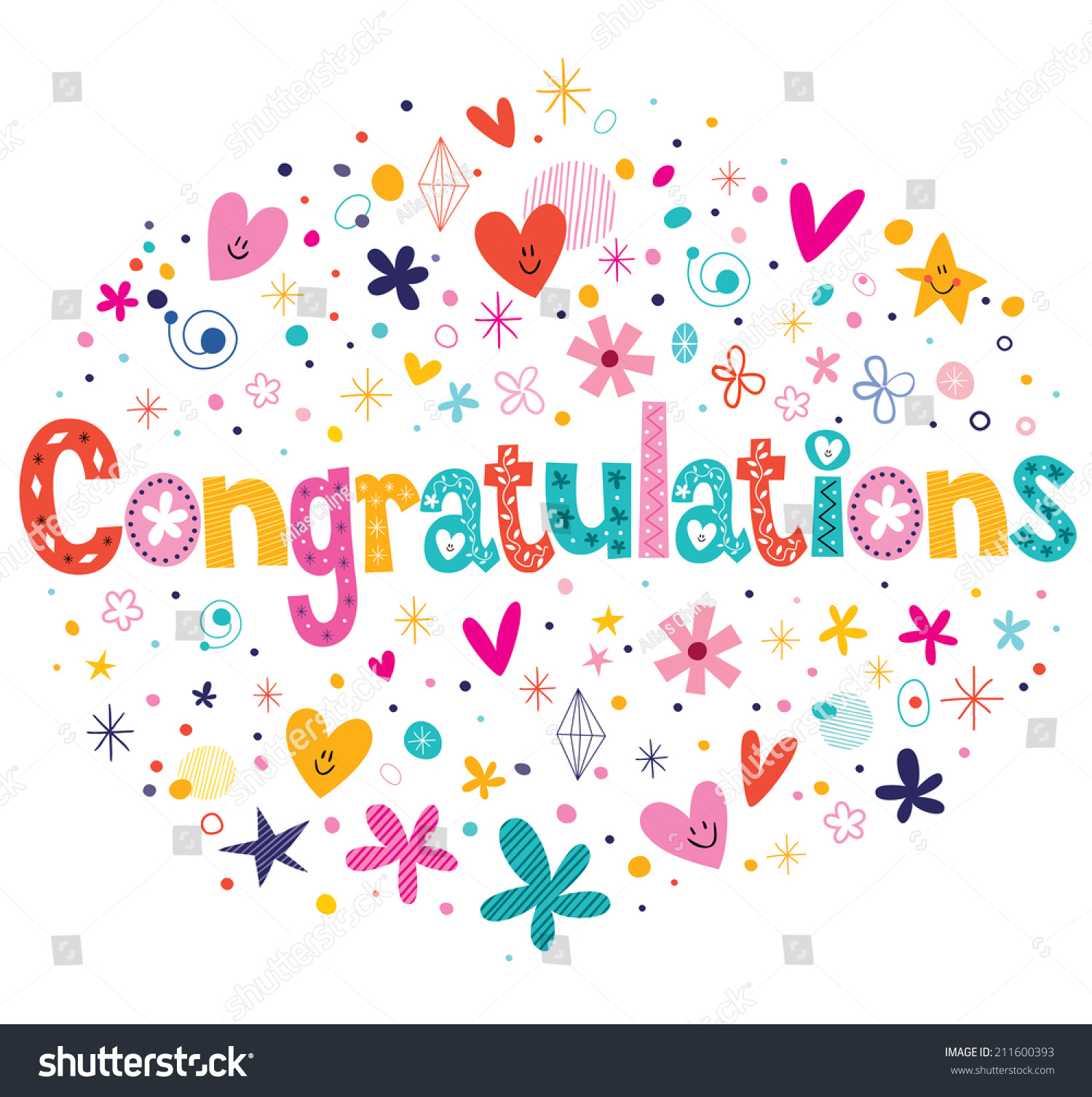 Congratulations Typography Lettering Decorative Text Card Design Stock Vector Illustration 211600393 : Shutterstock