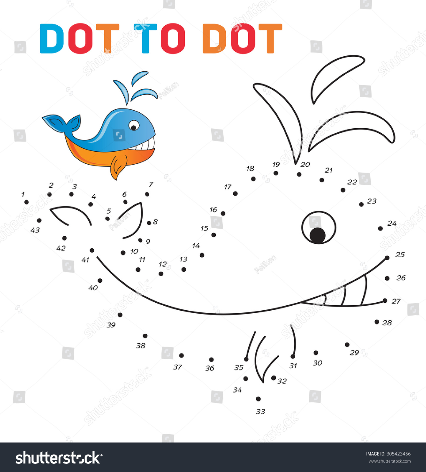 Connect Dots Paint Whale On Sample Stock Vector