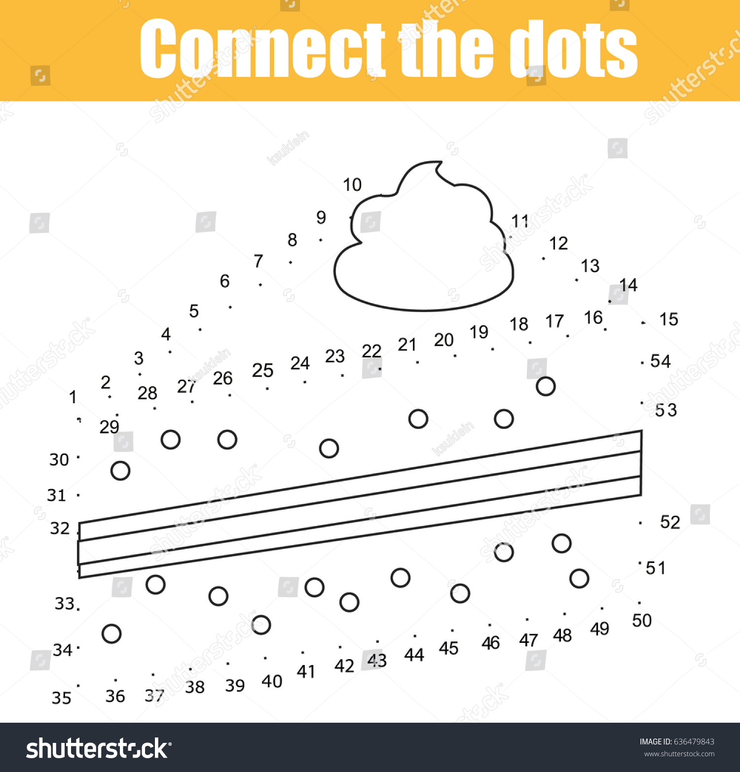 Connect Dots Children Educational Game Dot Stock Vector