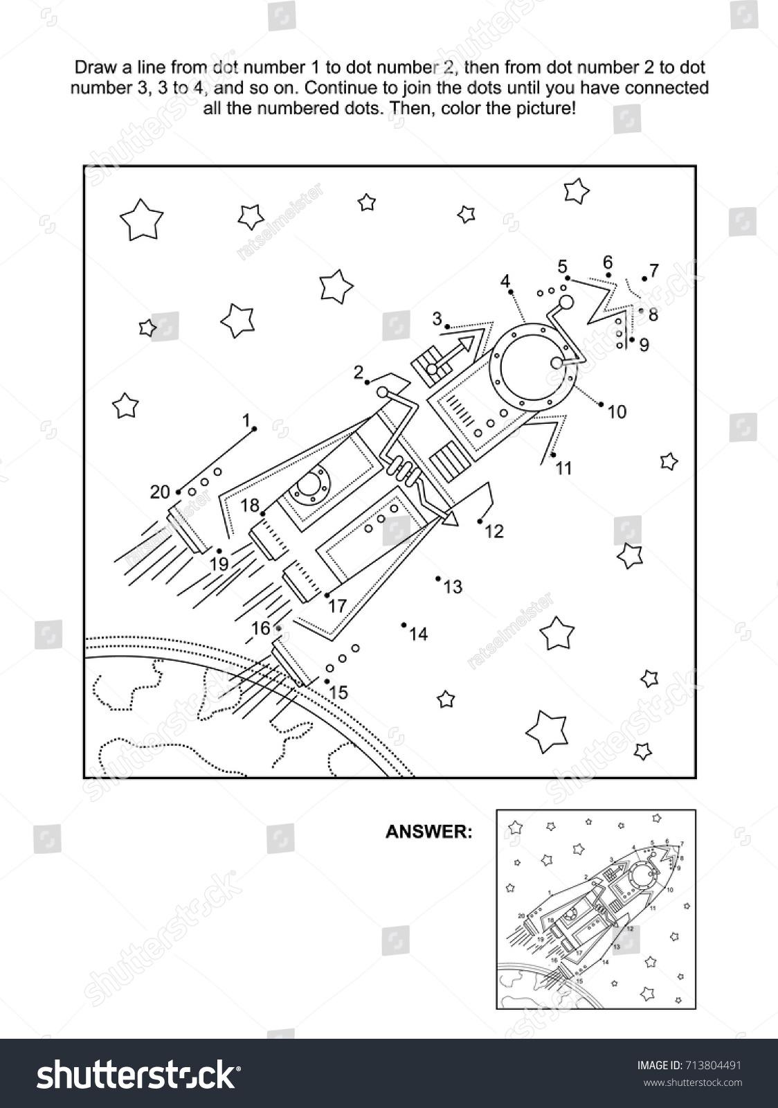 Space Dot To Dots Coloringnori