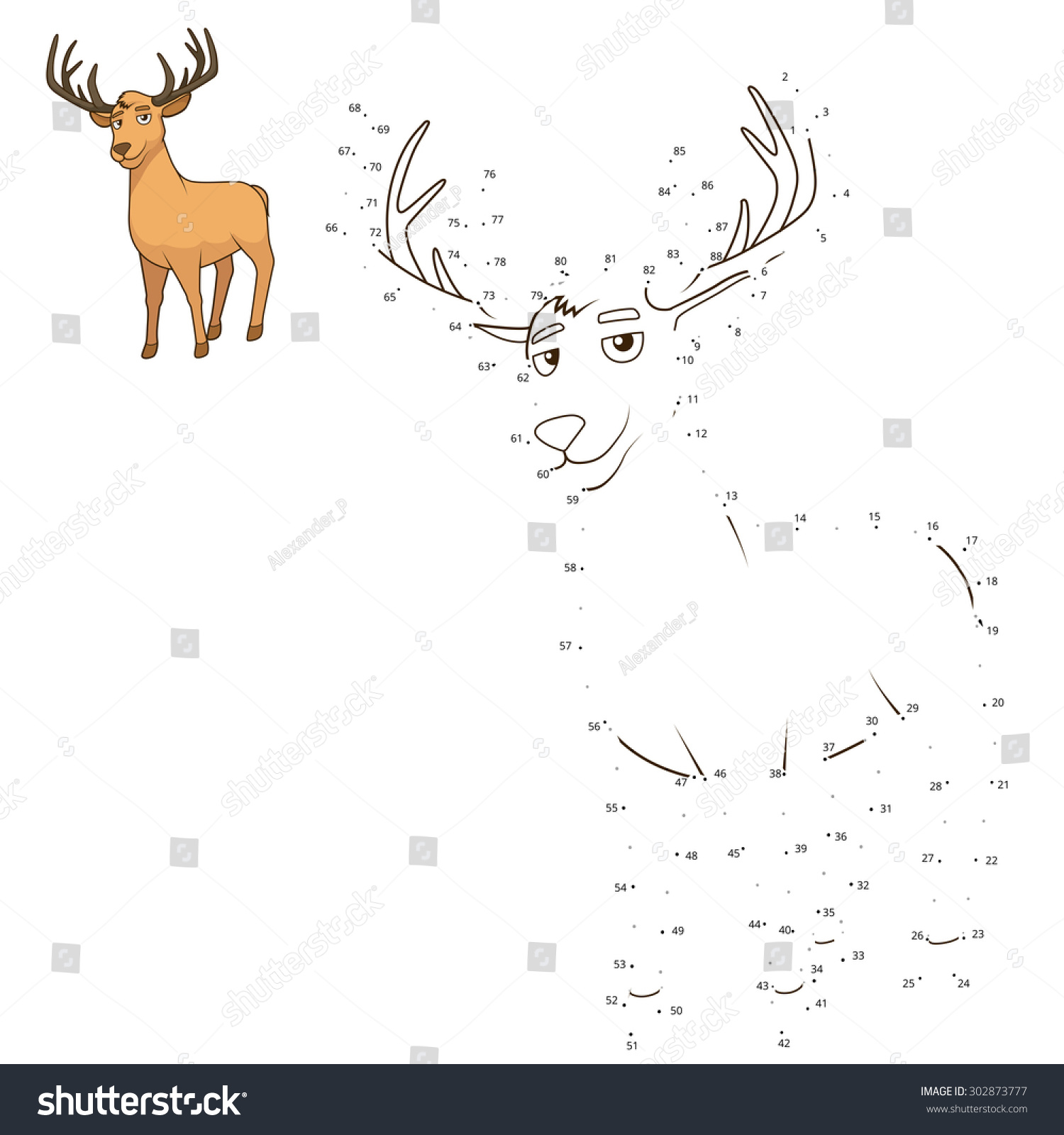 Connect Dots Draw Animal Educational Game Stock Vector