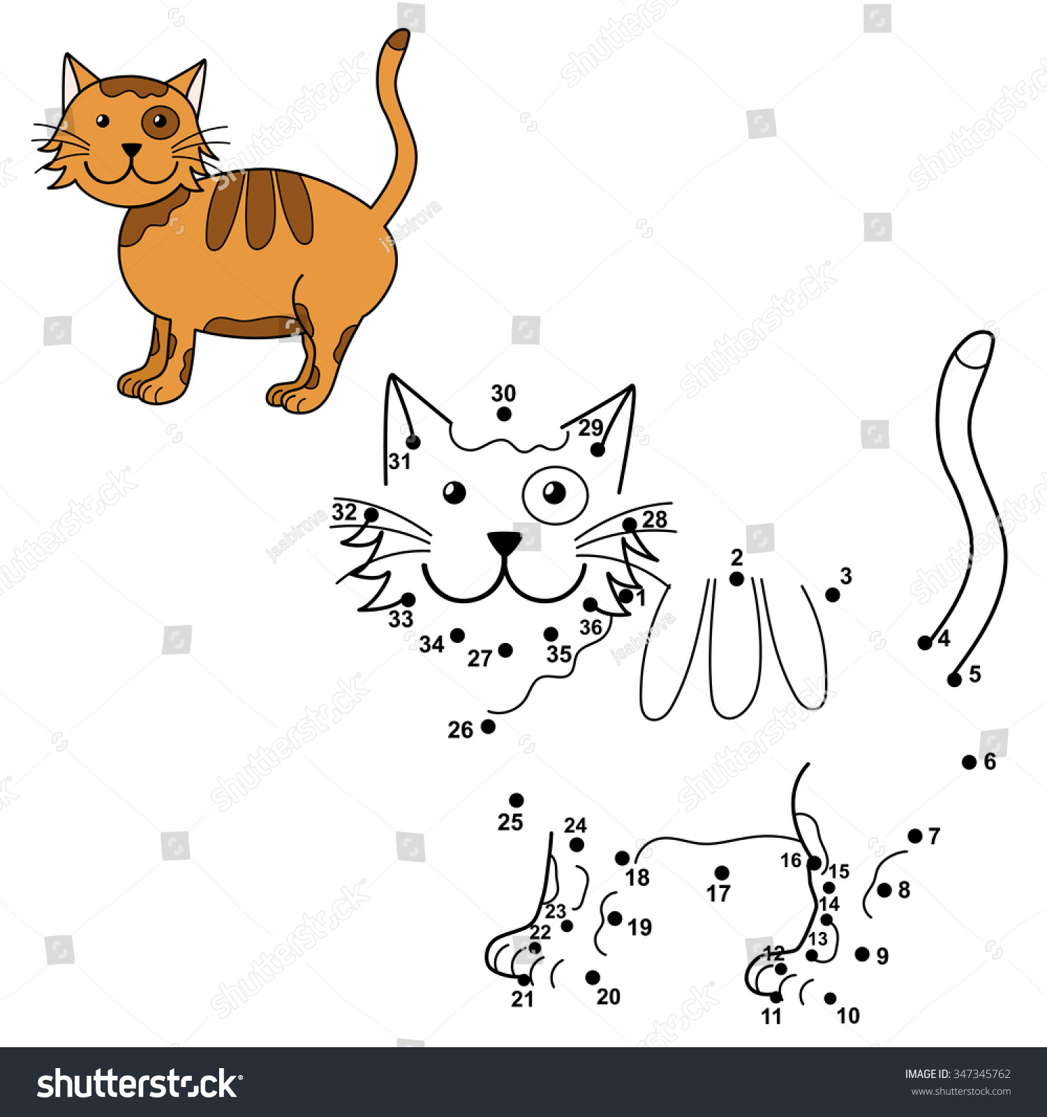 Connect Dots Draw Cute Cat Color Stock Vector