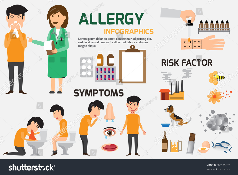 Content Graphics Symptoms Prevention Allergy Disease Stock