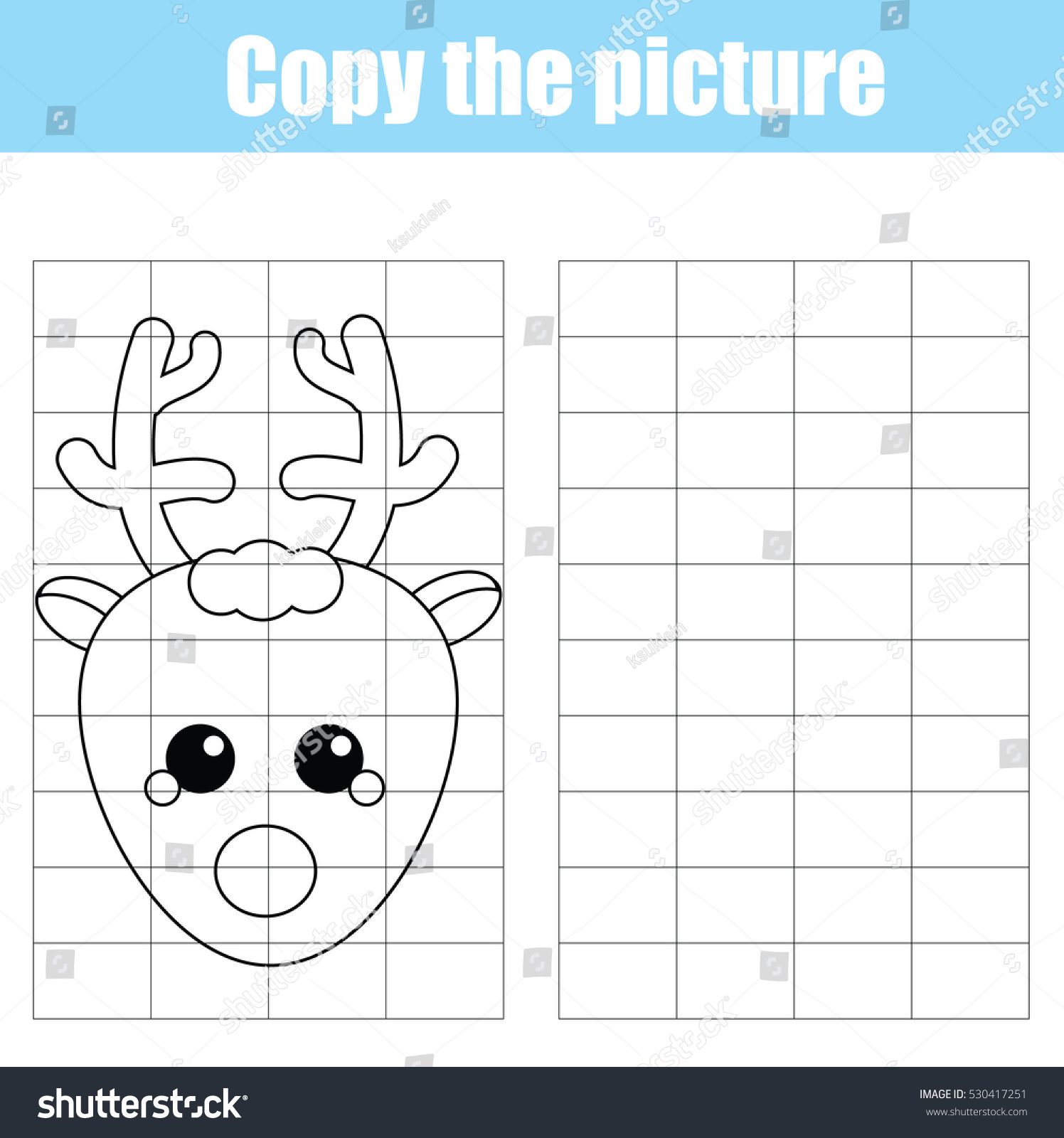 Copy Picture Using Grid Children Educational Stock Vector