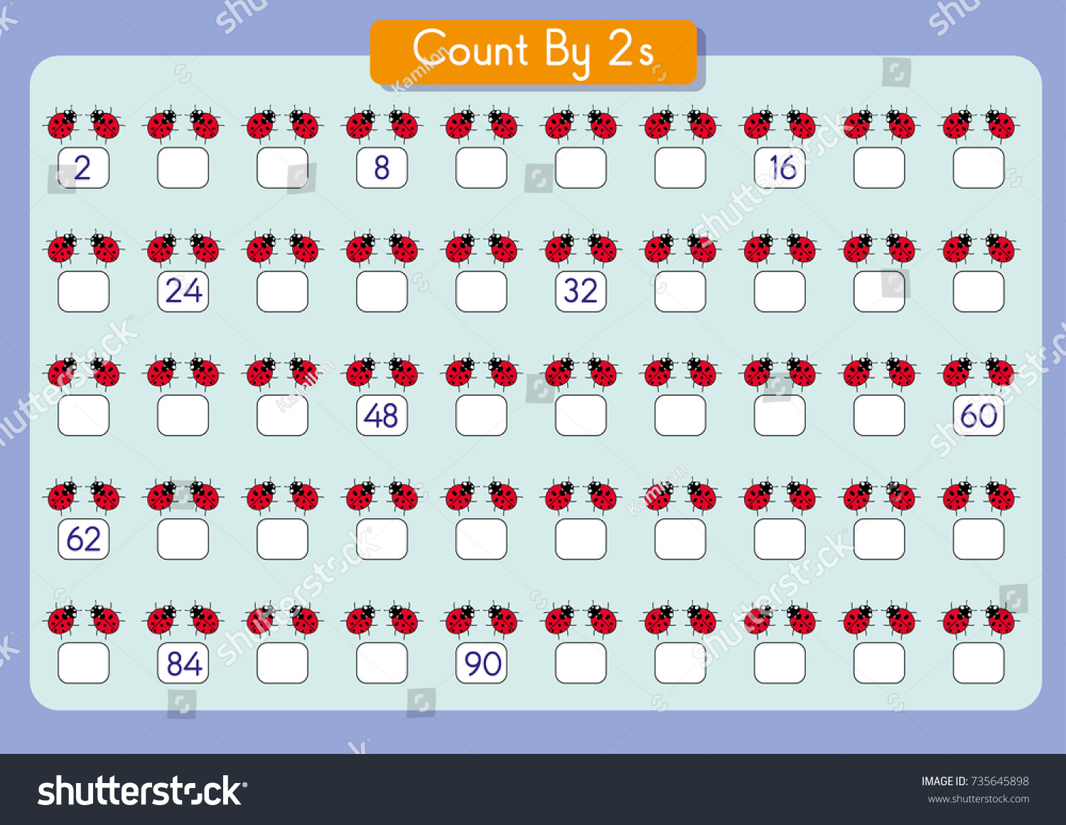 Counting By 2s Write Missing Numbers Stock Vector