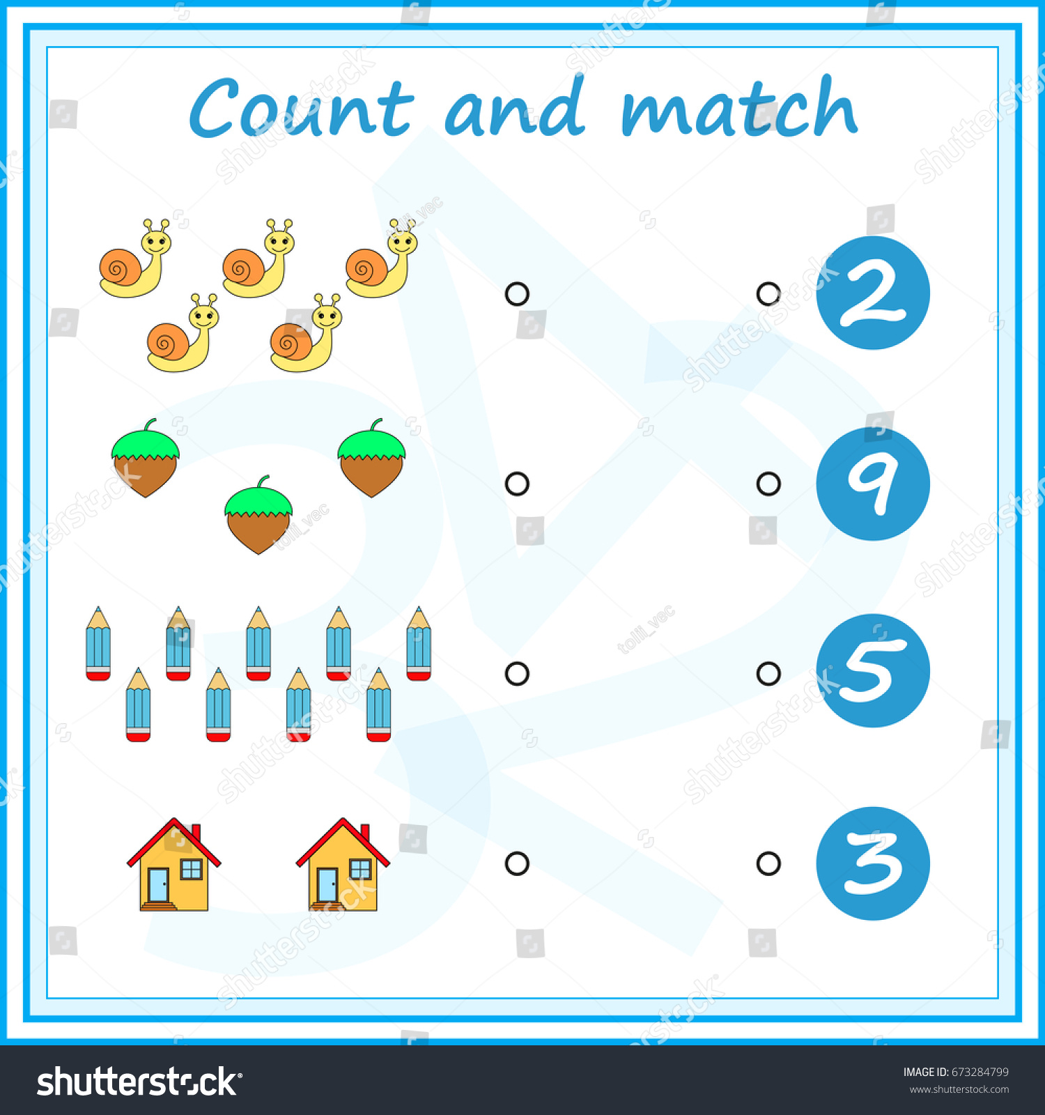 Counting Game Preschool Kids Educational Mathematical Stock Vector