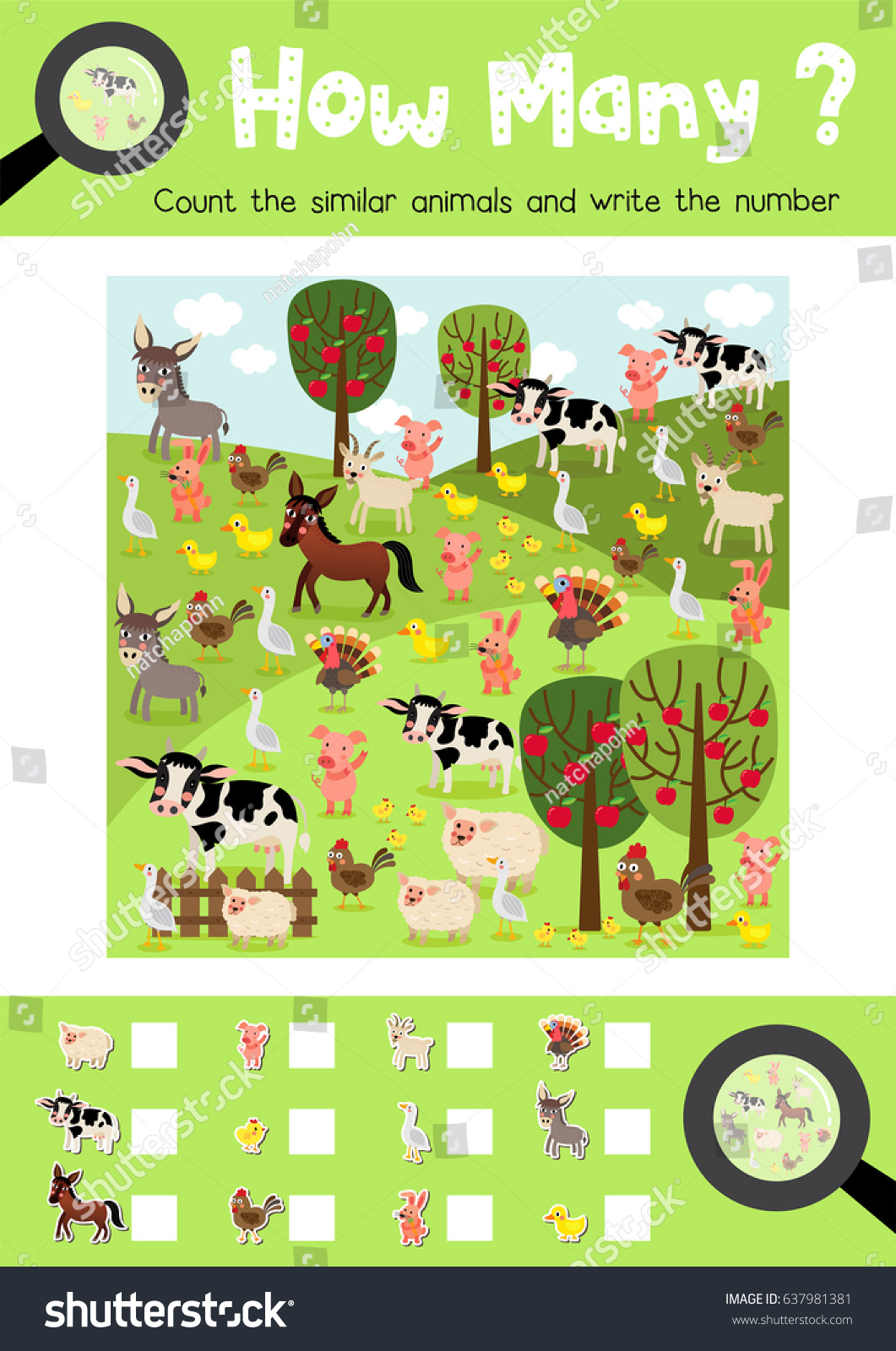 Farm Animal Counting Worksheet
