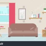 Cozy Living Room Warm Colors Window Stock Vector Royalty