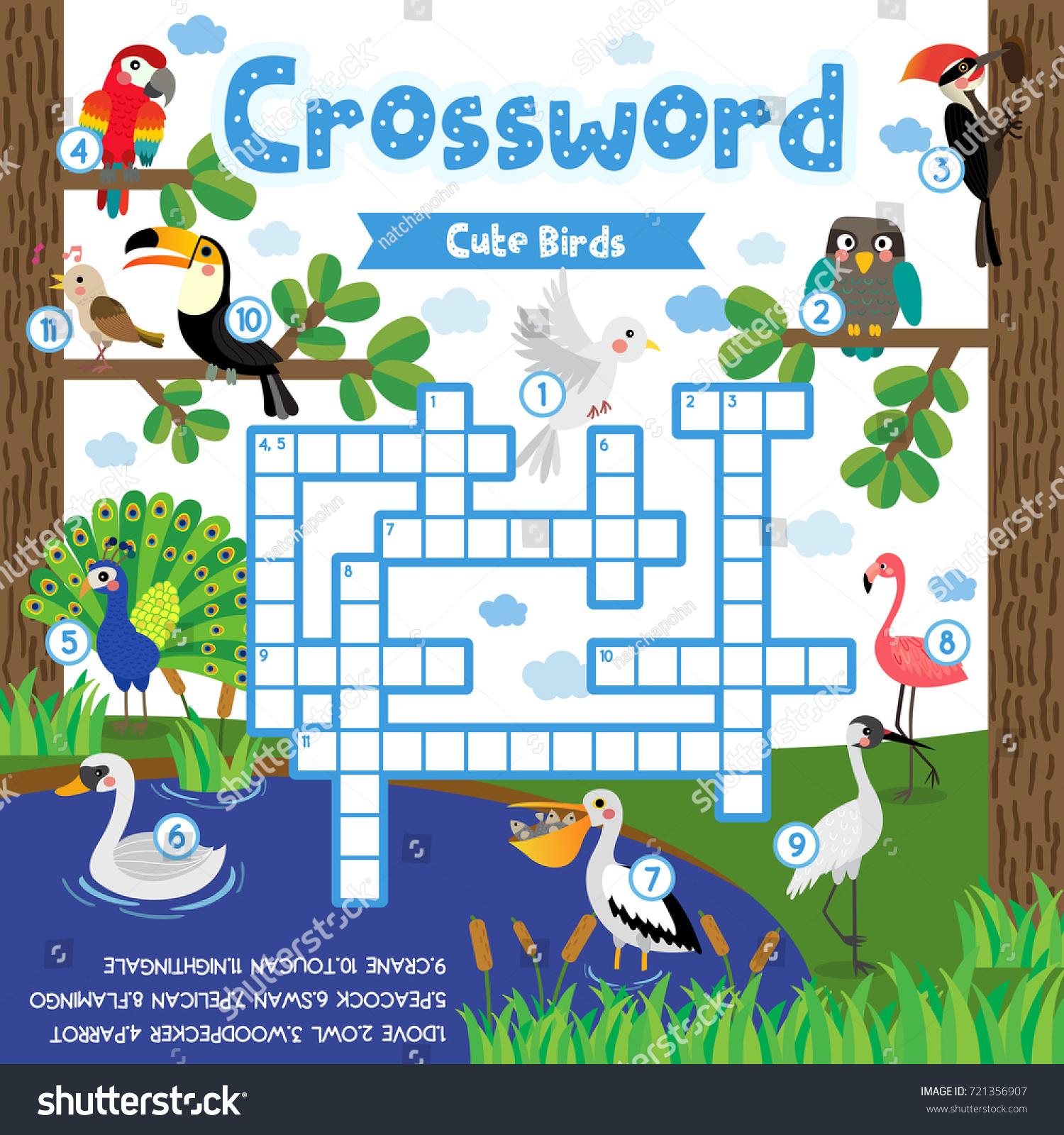 Crosswords Puzzle Game Cute Birds Animals Stock Vector