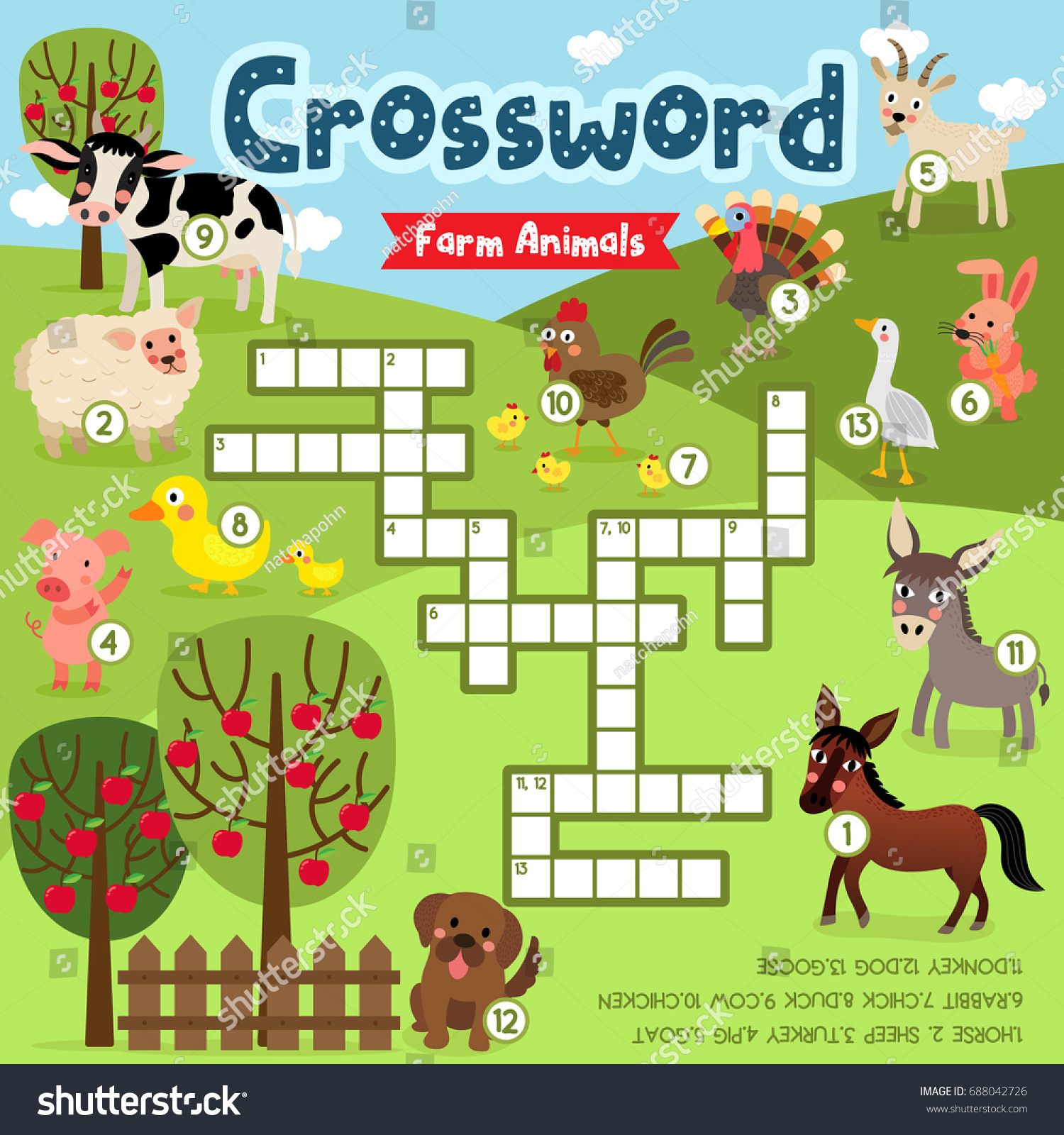 Crosswords Puzzle Game Farm Animals Preschool Stock Vector