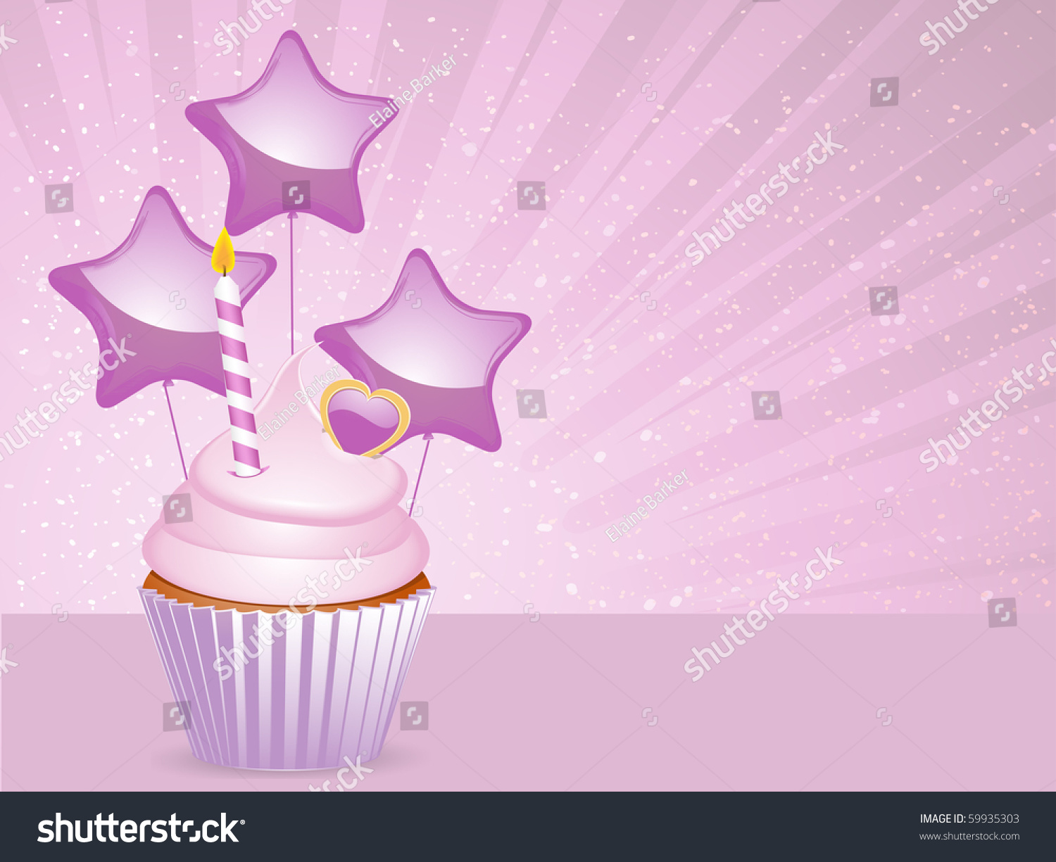 Cupcake With Birthday Candle Star Balloons And Heart On A