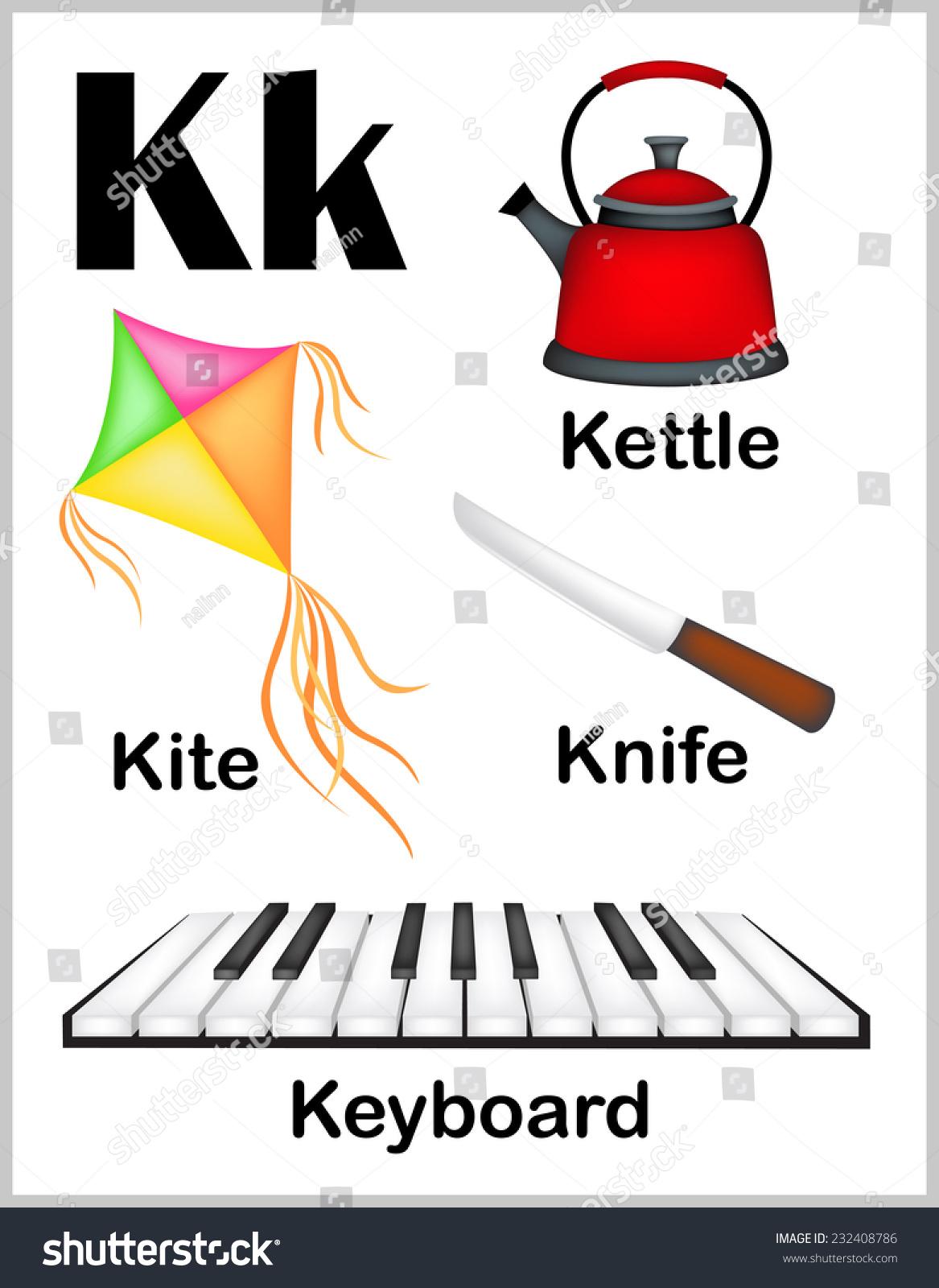 Cute Colorful Alphabet Letter K Set Stock Vector