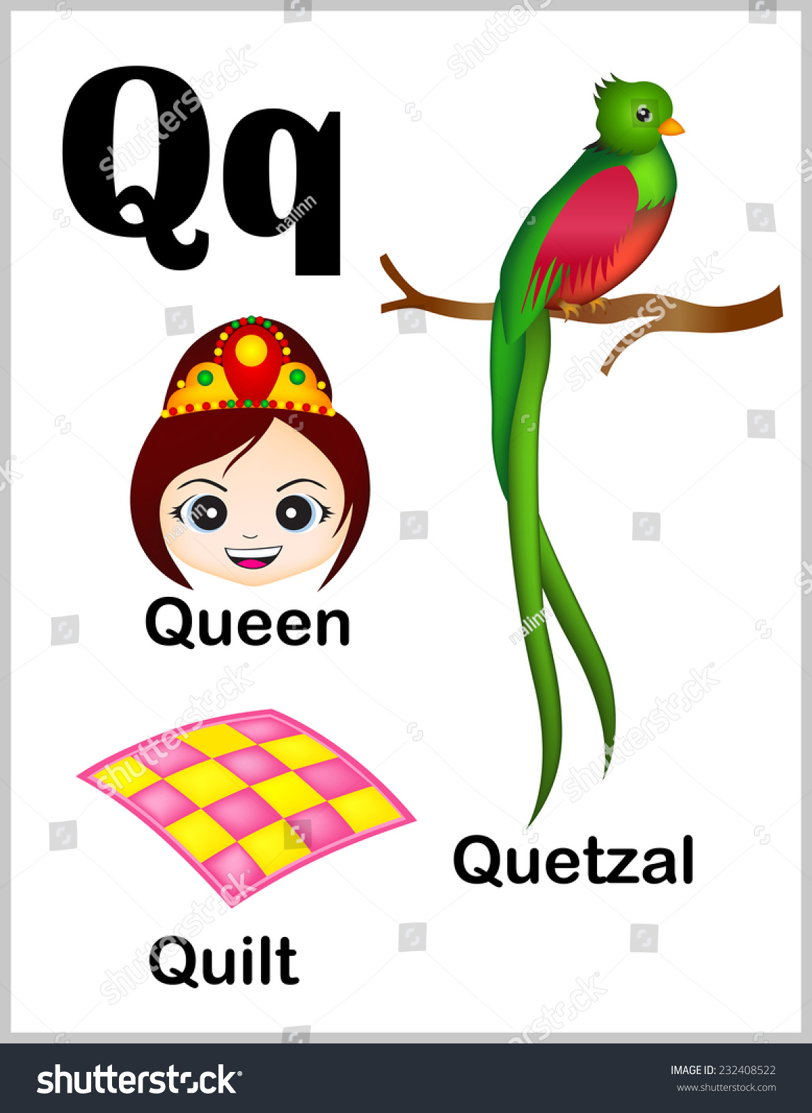 Cute Colorful Alphabet Letter Q Set Stock Vector