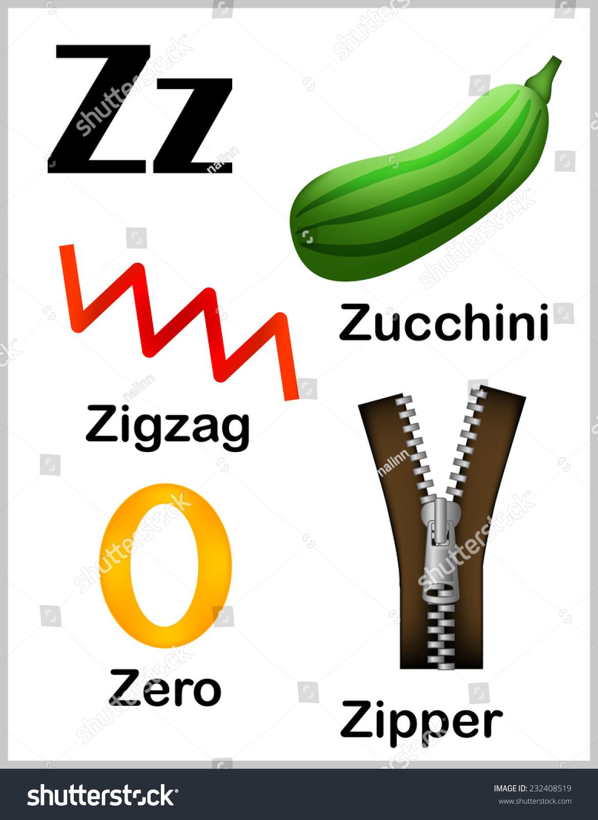 Cute Colorful Alphabet Letter Z Set Stock Vector