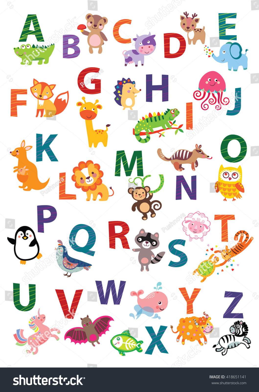 Cute Animal Alphabet English Alphabet Poster Nursery