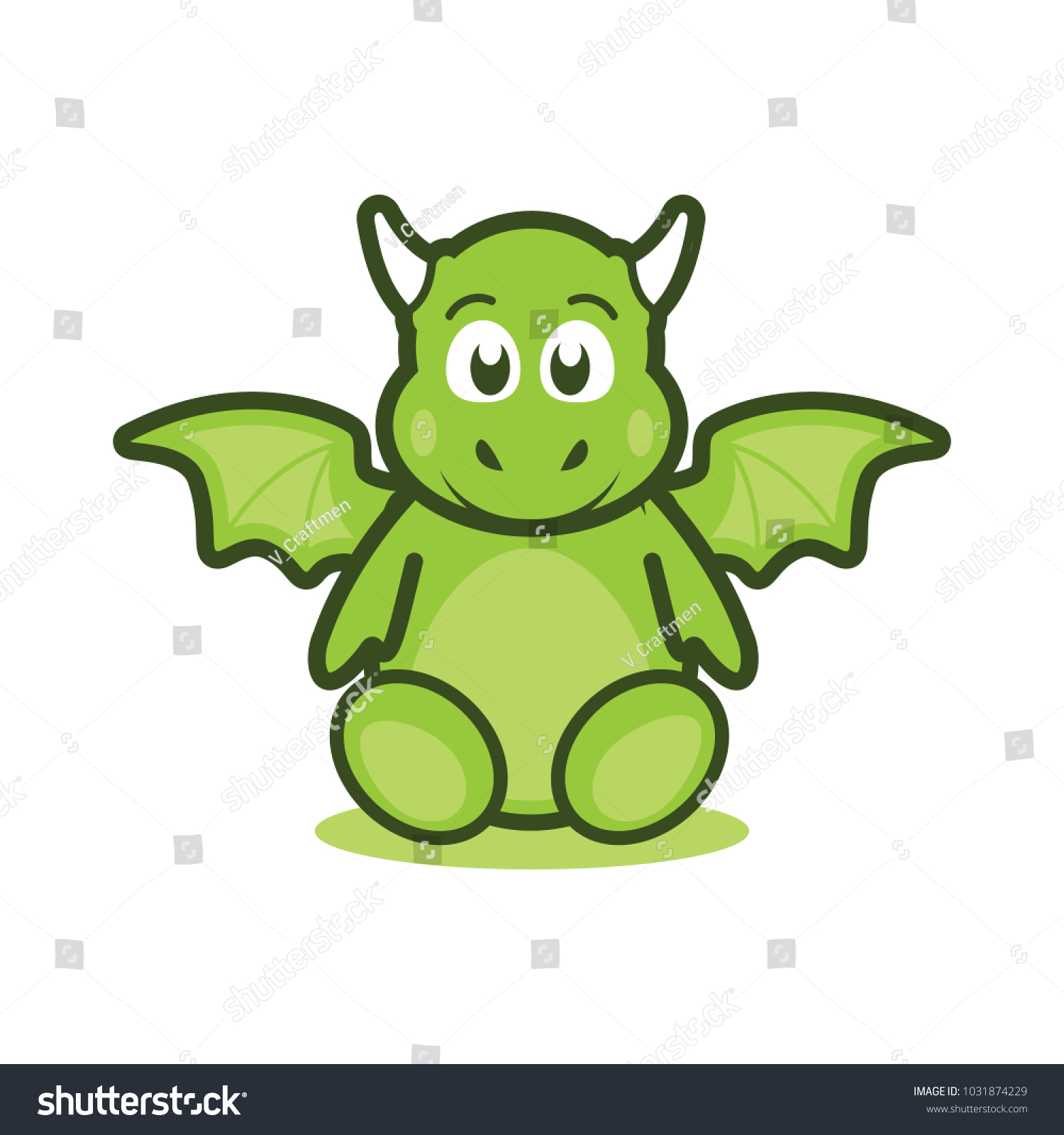 Cute Baby Dragon Mascot Logo Illustration Stock Vector Royalty Free 1031874229