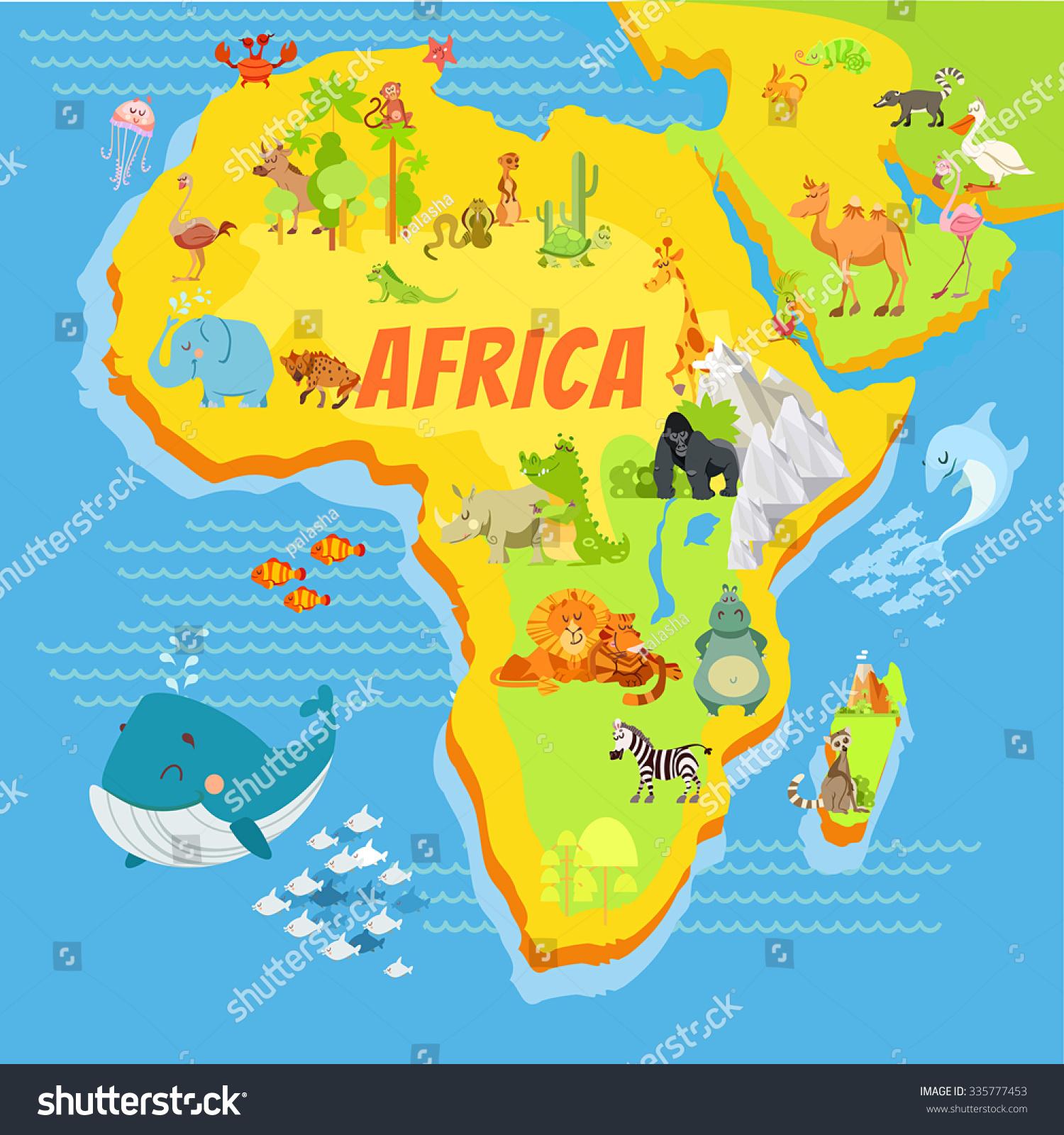 Cute Cartoon Africa Continent Map Mountainsriverstrees