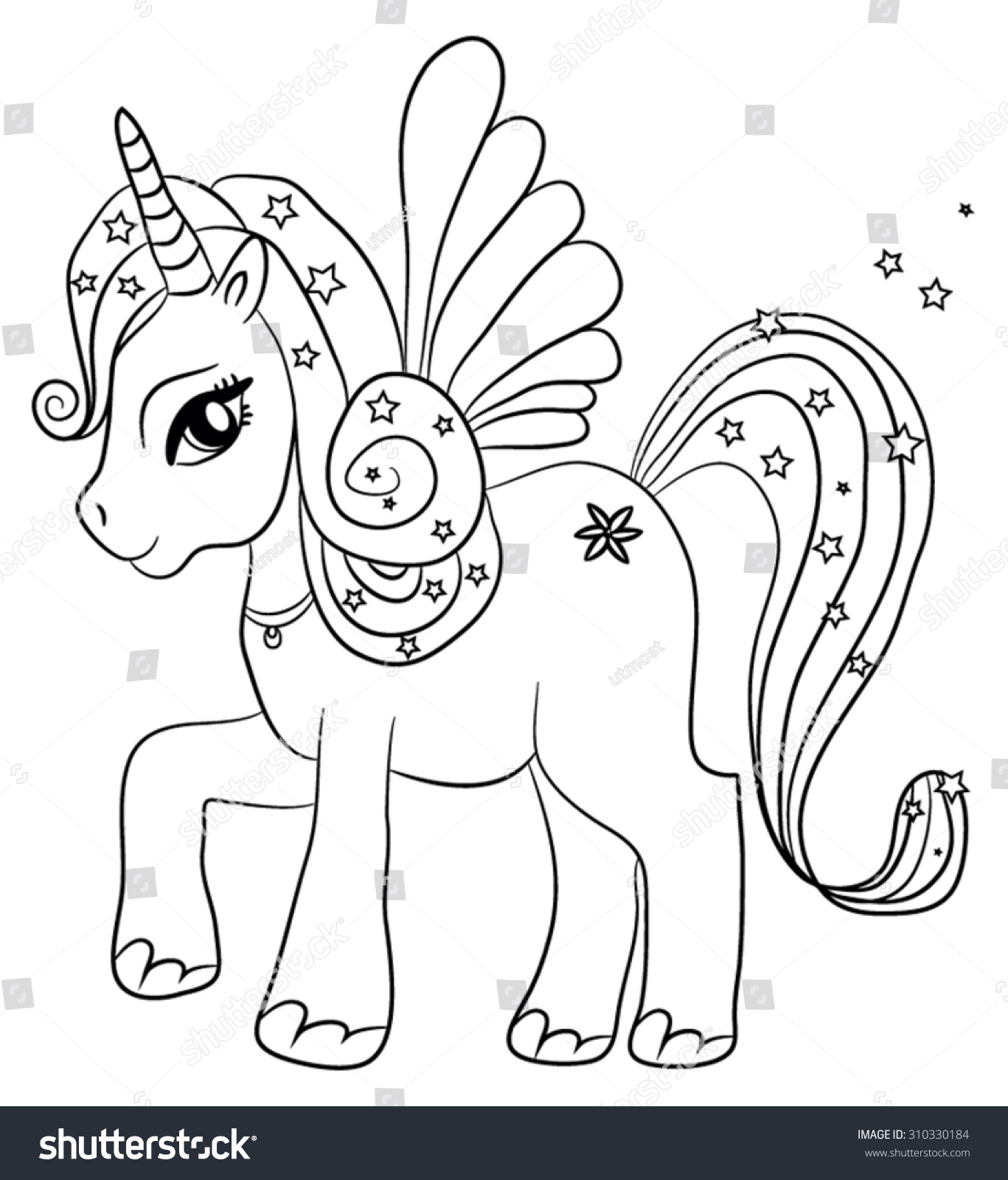 Cute cartoon fairytale unicorn coloring page for kids stock vector