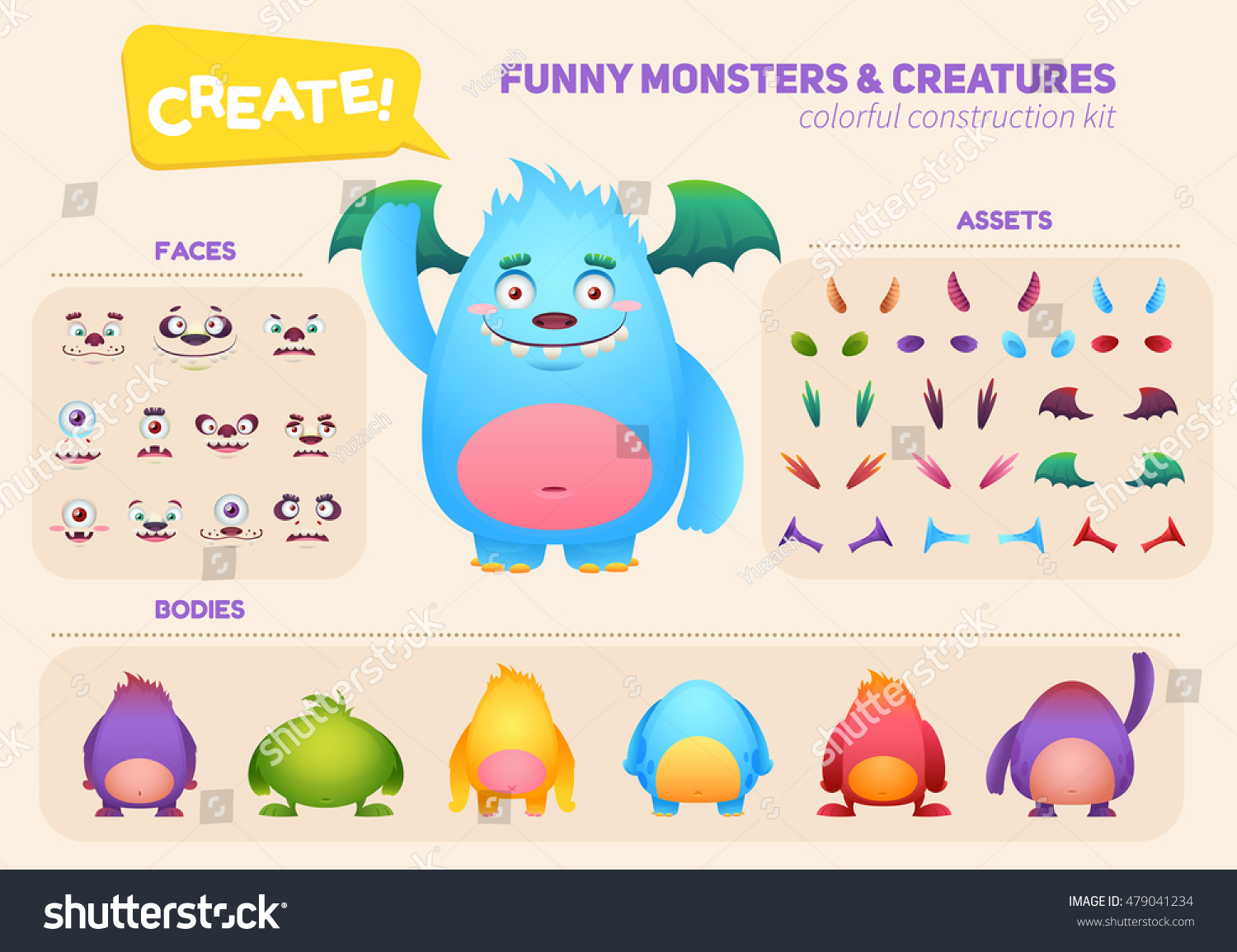 Cute Cartoon Monster Creation Kit Construction Stock
