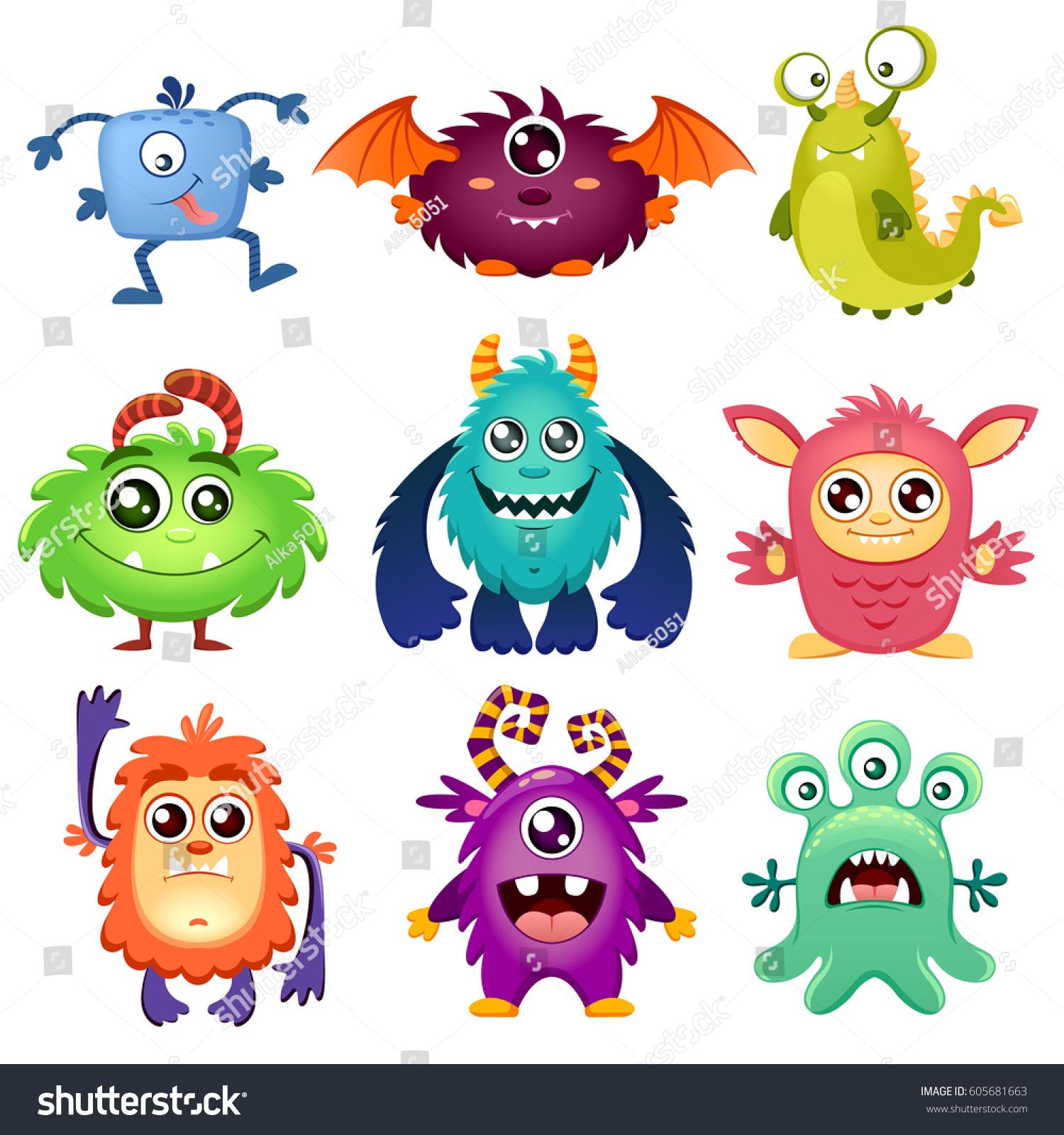 Cute Cartoon Monsters Stock Vector