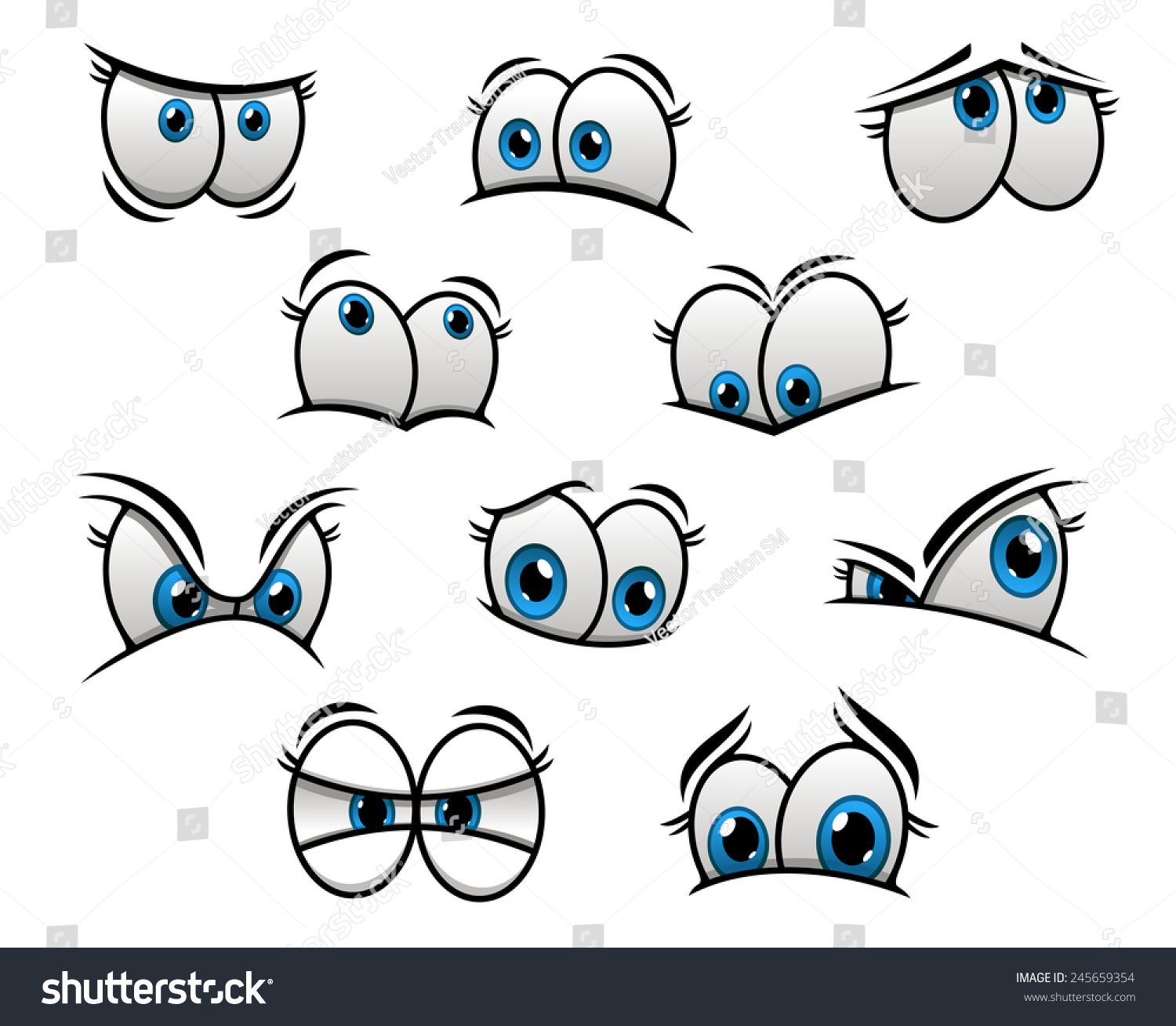 Cute Cartooned Big Blue Eyes With Happy Fun Sad And
