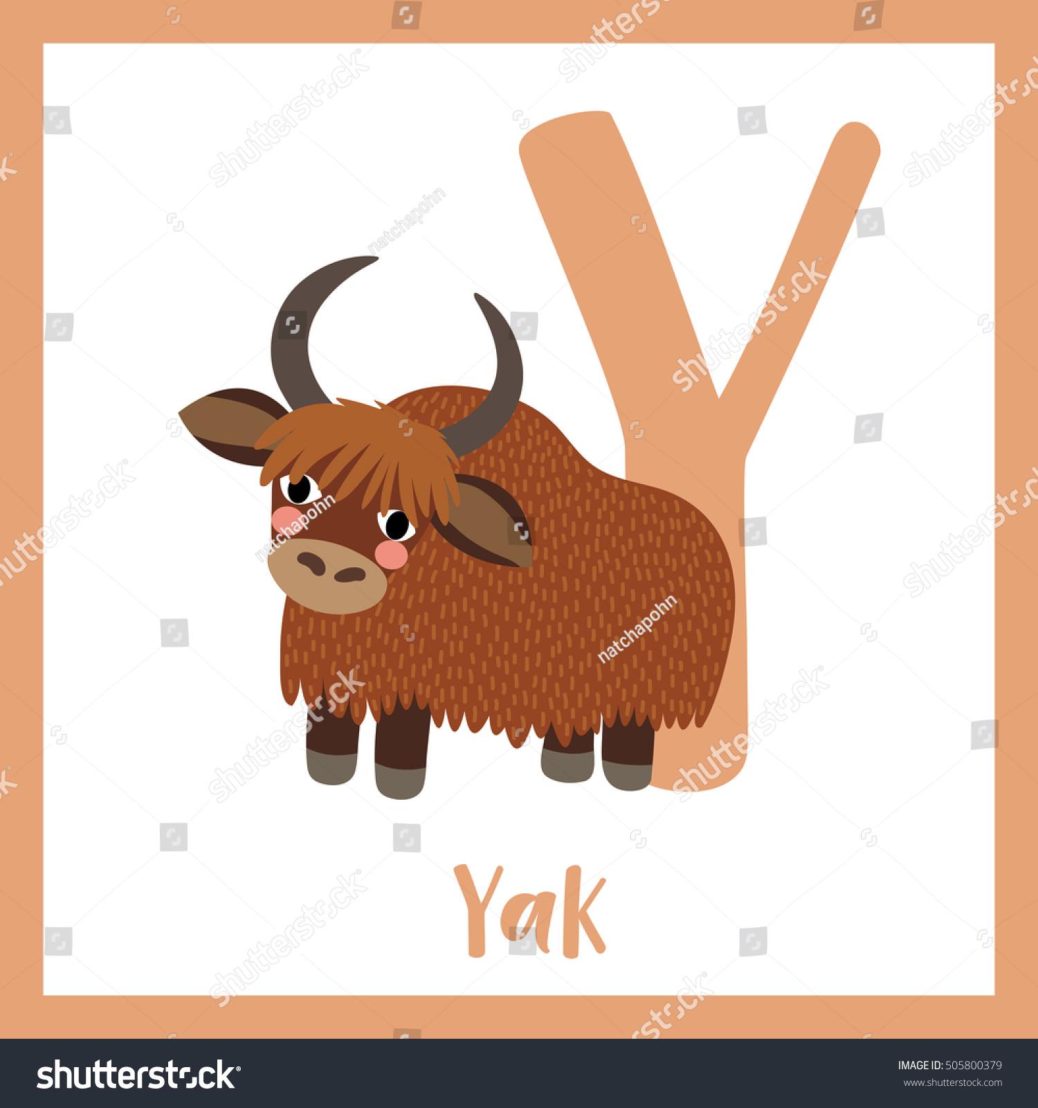 Cute Children Abc Animal Alphabet Y Stock Vector
