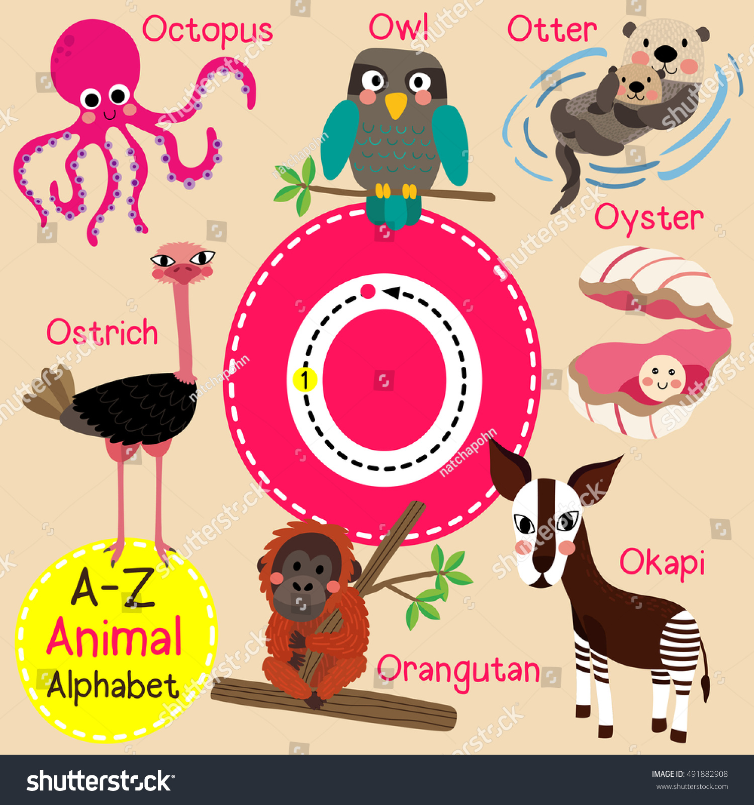 Cute Children Zoo Alphabet O Letter Tracing Of Funny Animal Cartoon For Kids Learning English