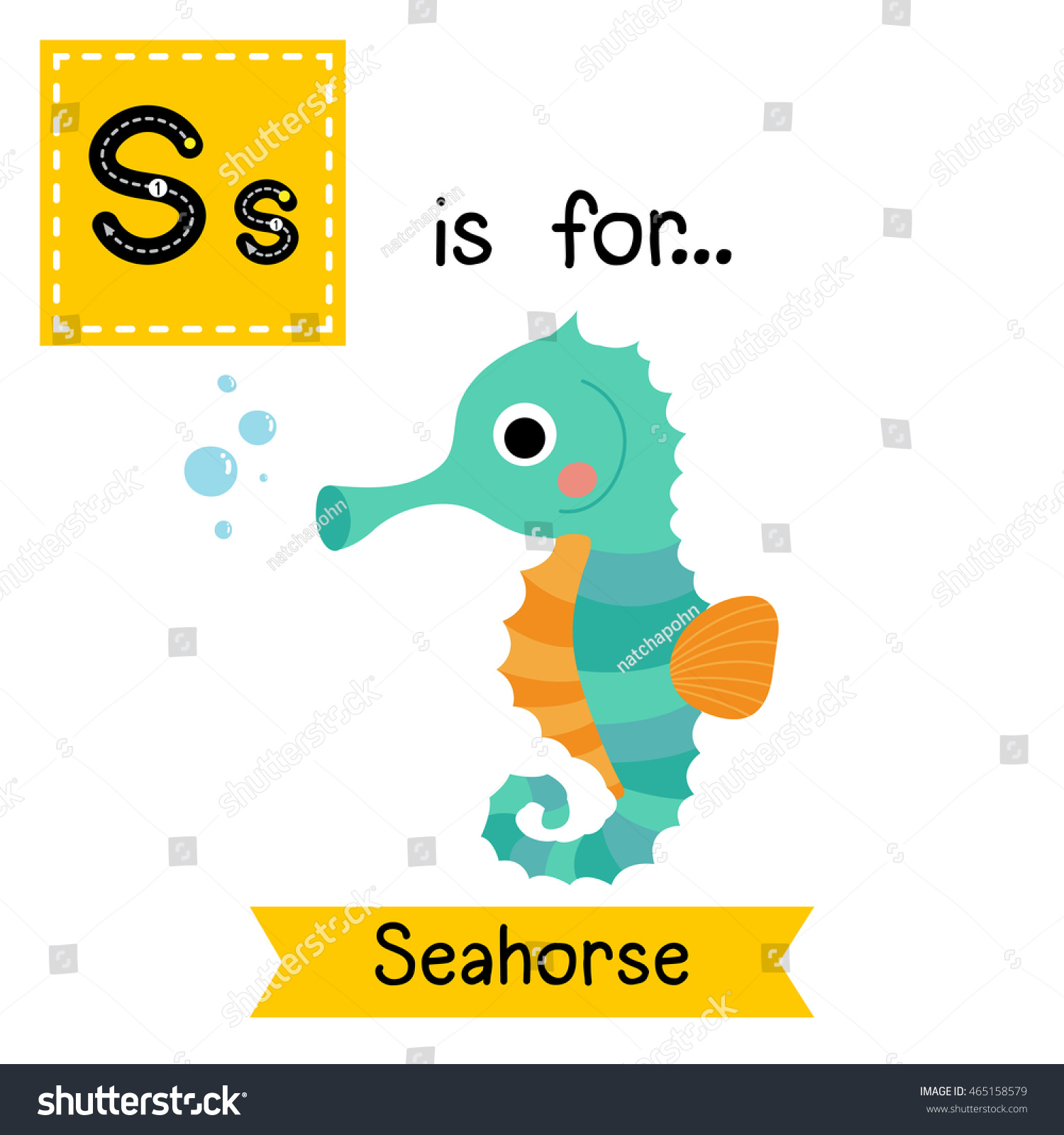 Cute Children Zoo Alphabet S Letter Stock Vector