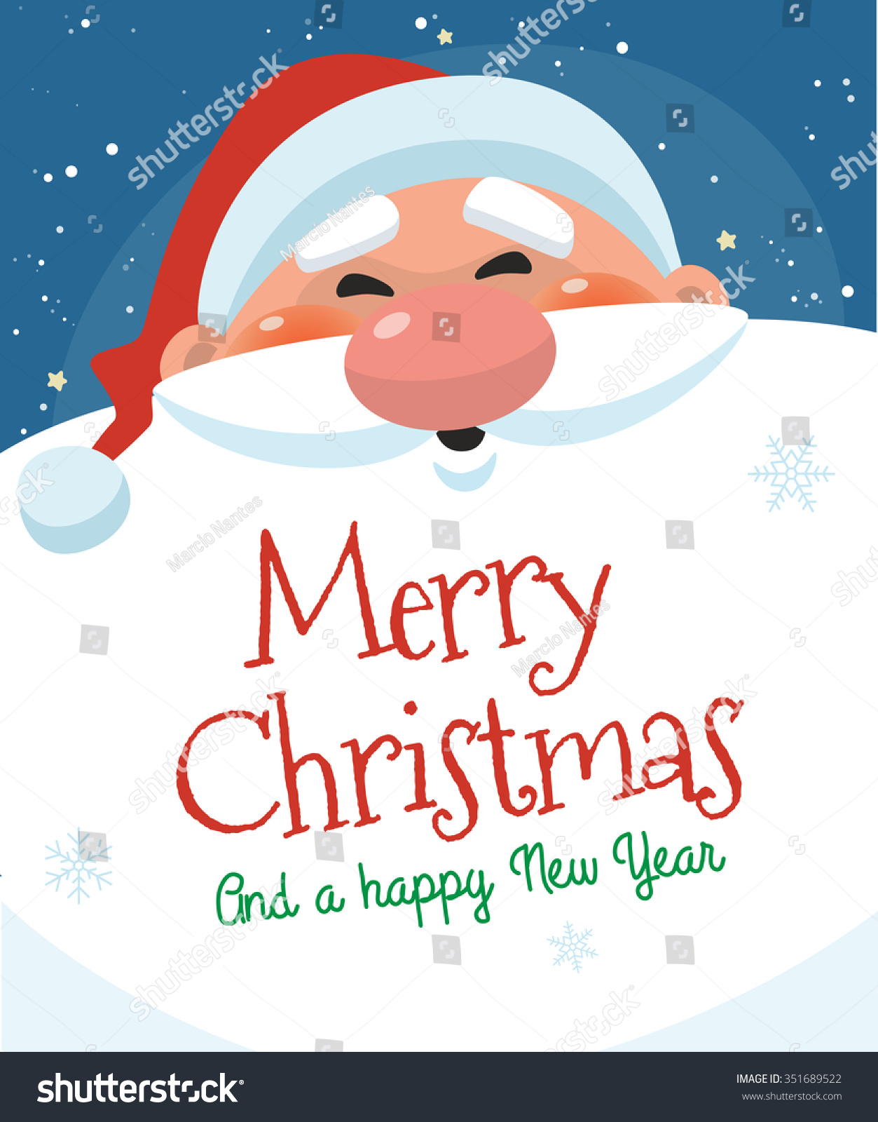 Cute Christmas Card Santa Claus Message Stock Vector