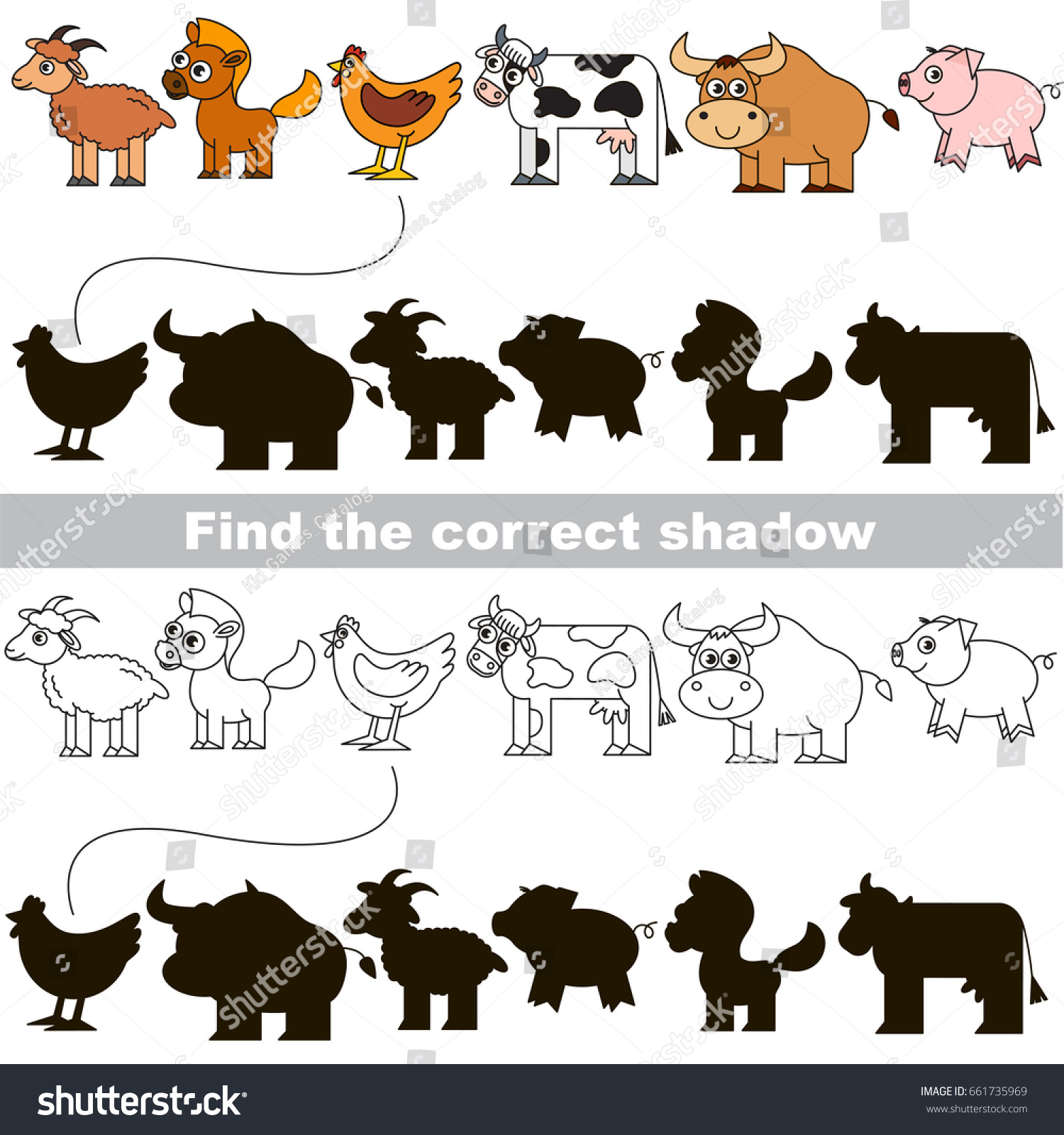 Cute Farm Animals Different Shadows Find Stock Vector