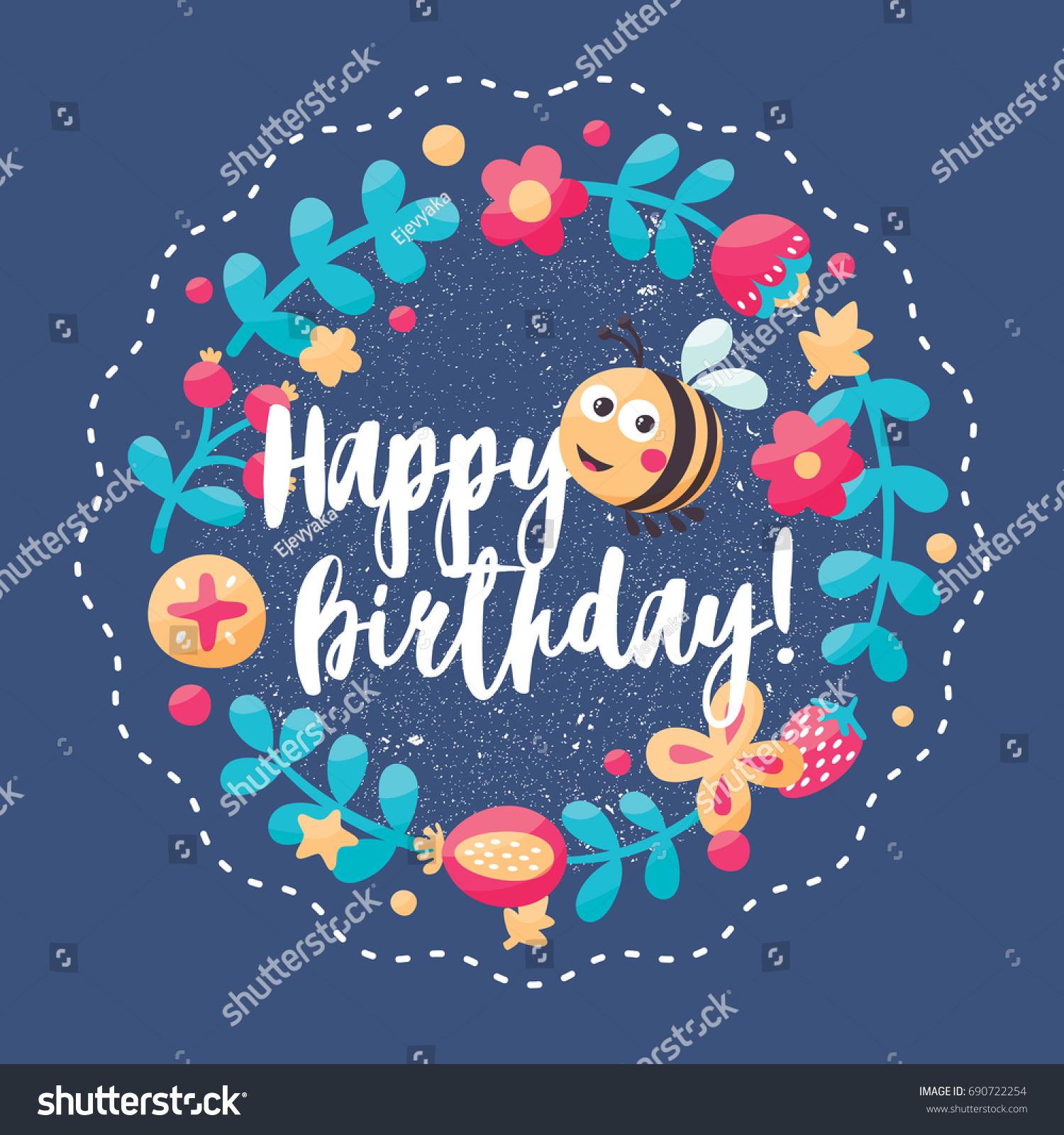 Cute Nature Postcard Happy Birthday Bee Stock Vector Royalty Free 690722254