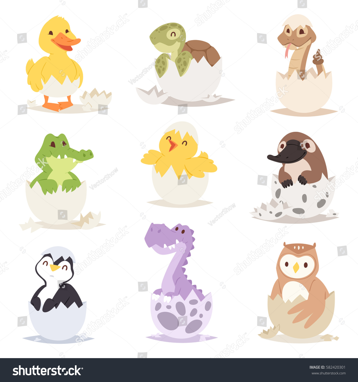 Cute New Born Animals Eggs Easter Stock Vector