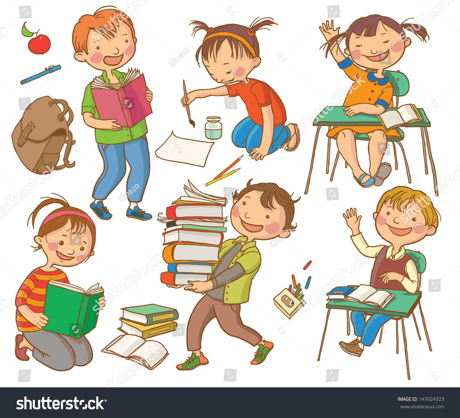 Cute School Children School Activities Back To School