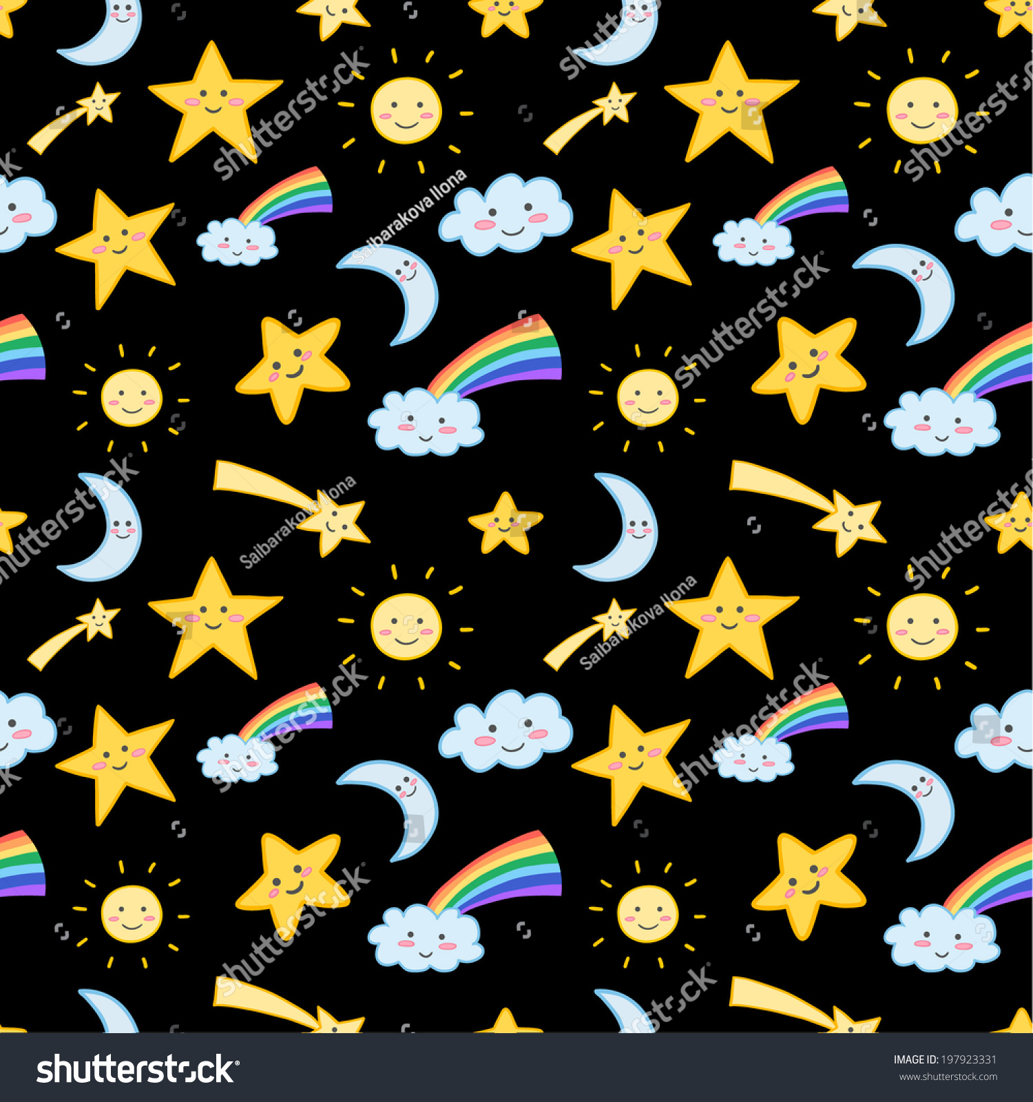 Cute Seamless Pattern With Clouds Stars Suns And Moons