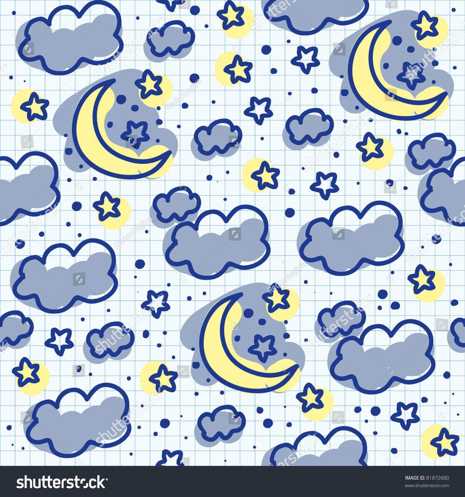 Cute Seamless Pattern Moon Cloud Star Stock Vector
