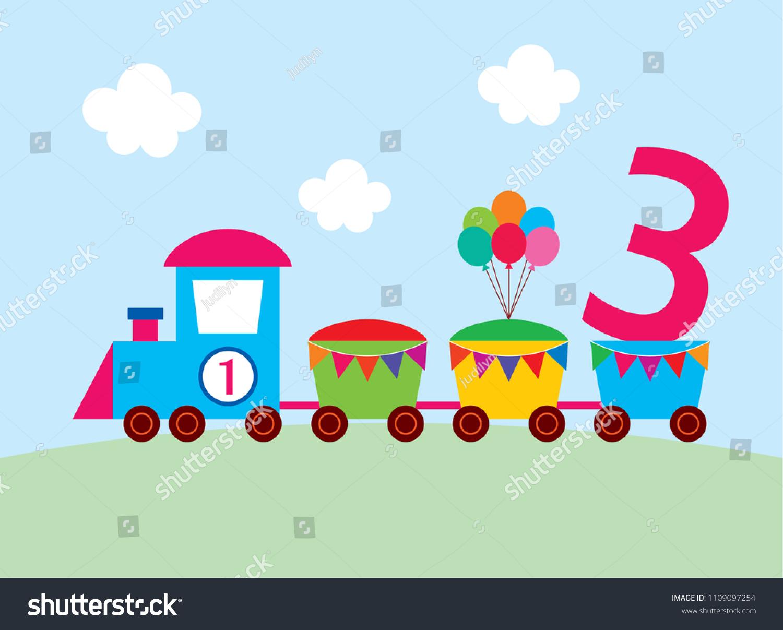 https www shutterstock com image vector cute train 3 years old birthday 1109097254