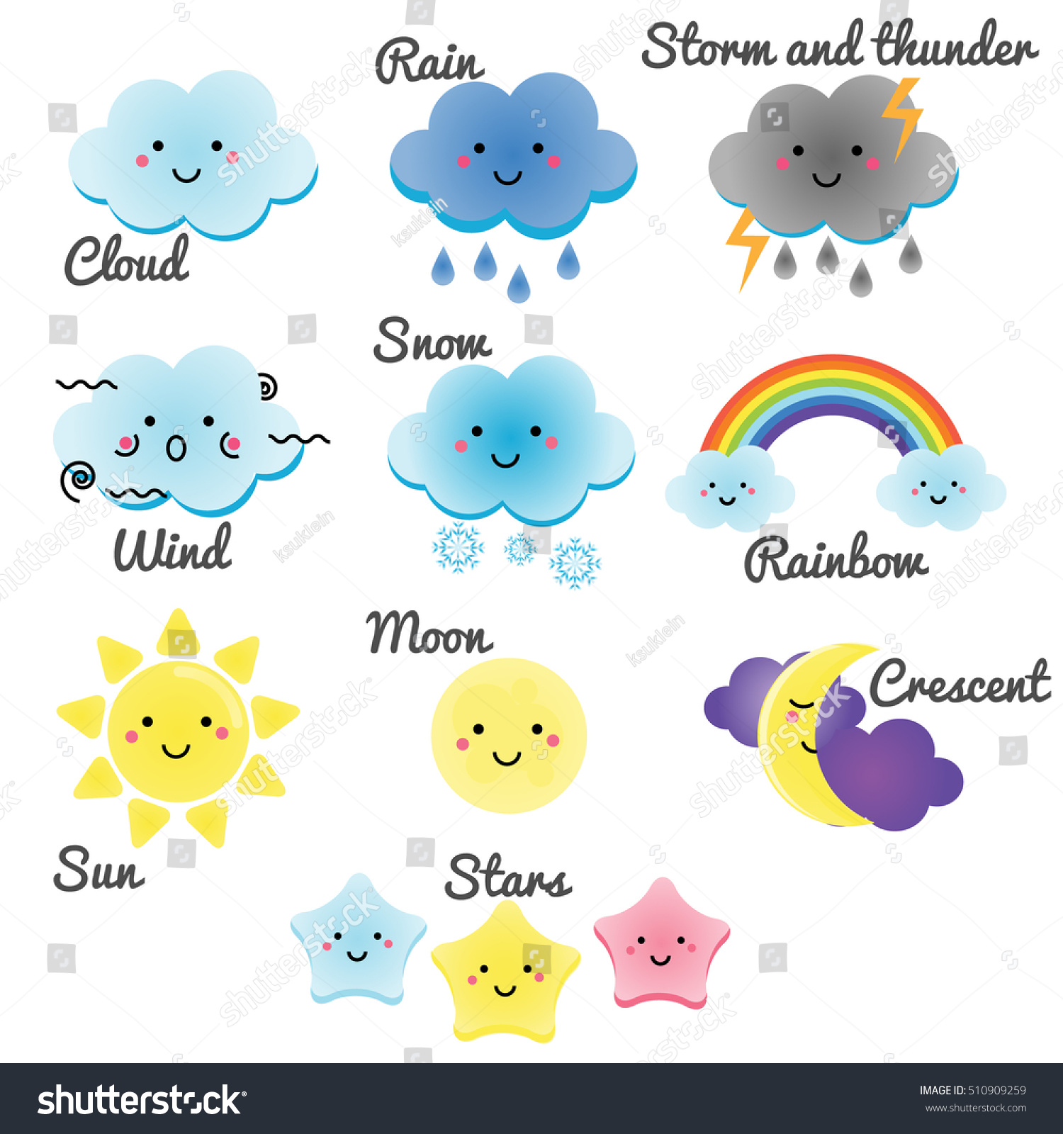 Cute Weather Sky Elements Kawaii Moon Stock Vector