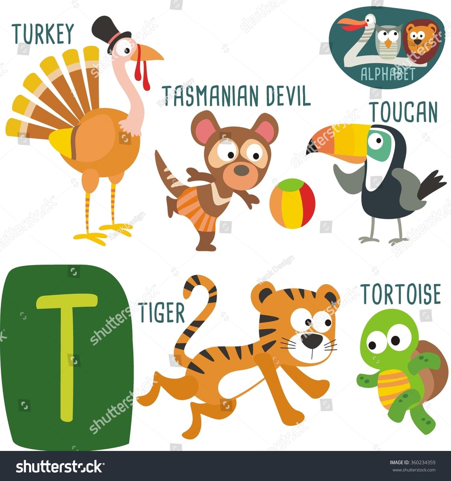 Cute Zoo Alphabet In Vector T Letter Funny Cartoon