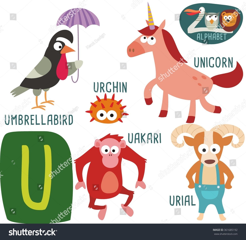 Cute Zoo Alphabet Vector U Letter Stock Vector