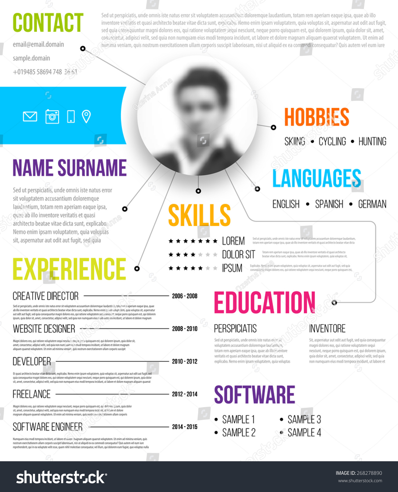 cv template minimalistic style for business design blurred