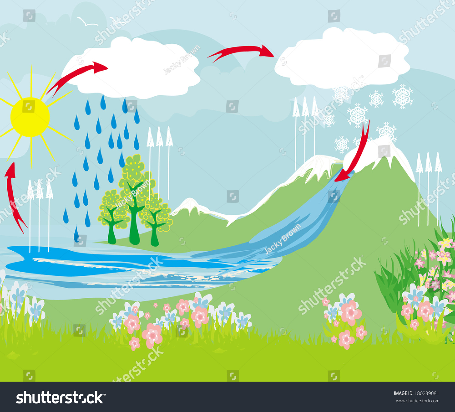 Cycle Water Nature Environment Stock Vector