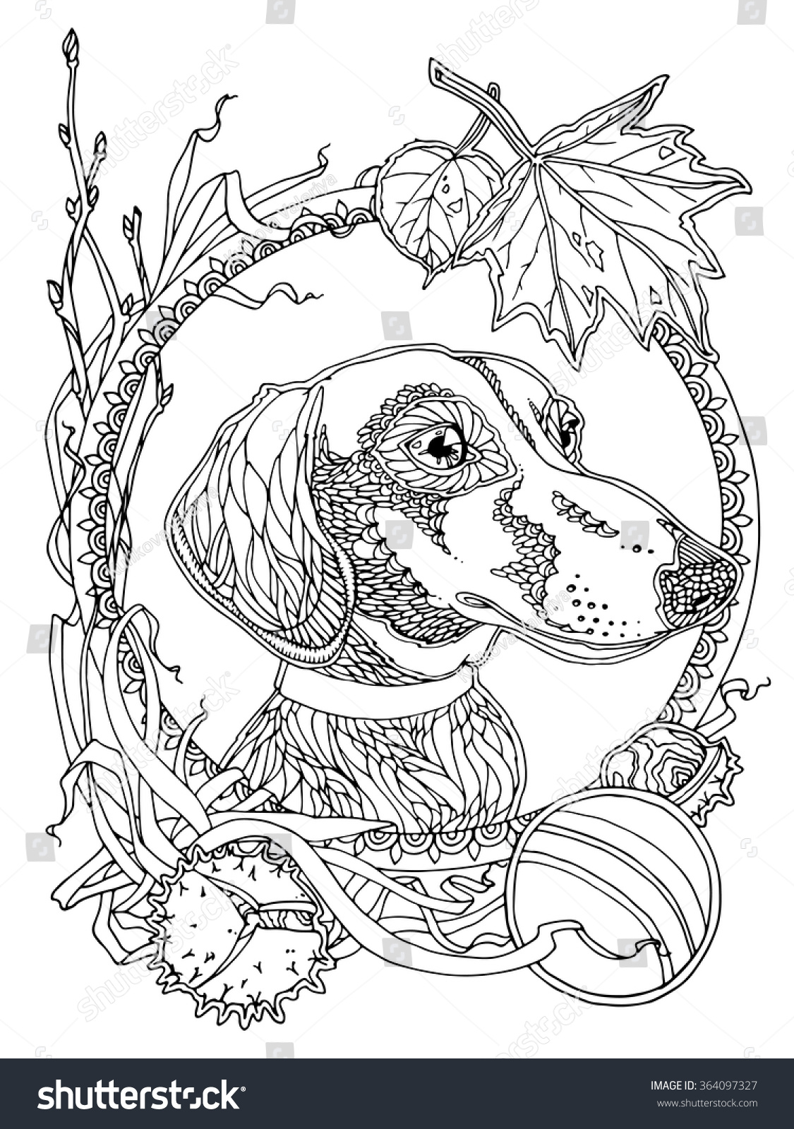 dachshund with autumn elements coloring page for adults