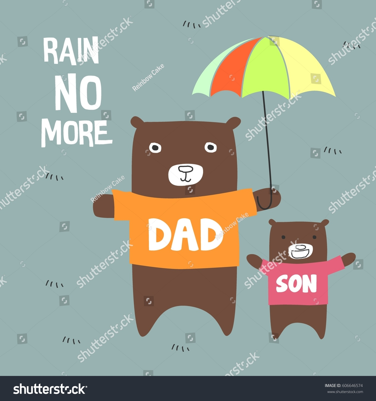 dad son bear standing holding umbrella stock vector (royalty free
