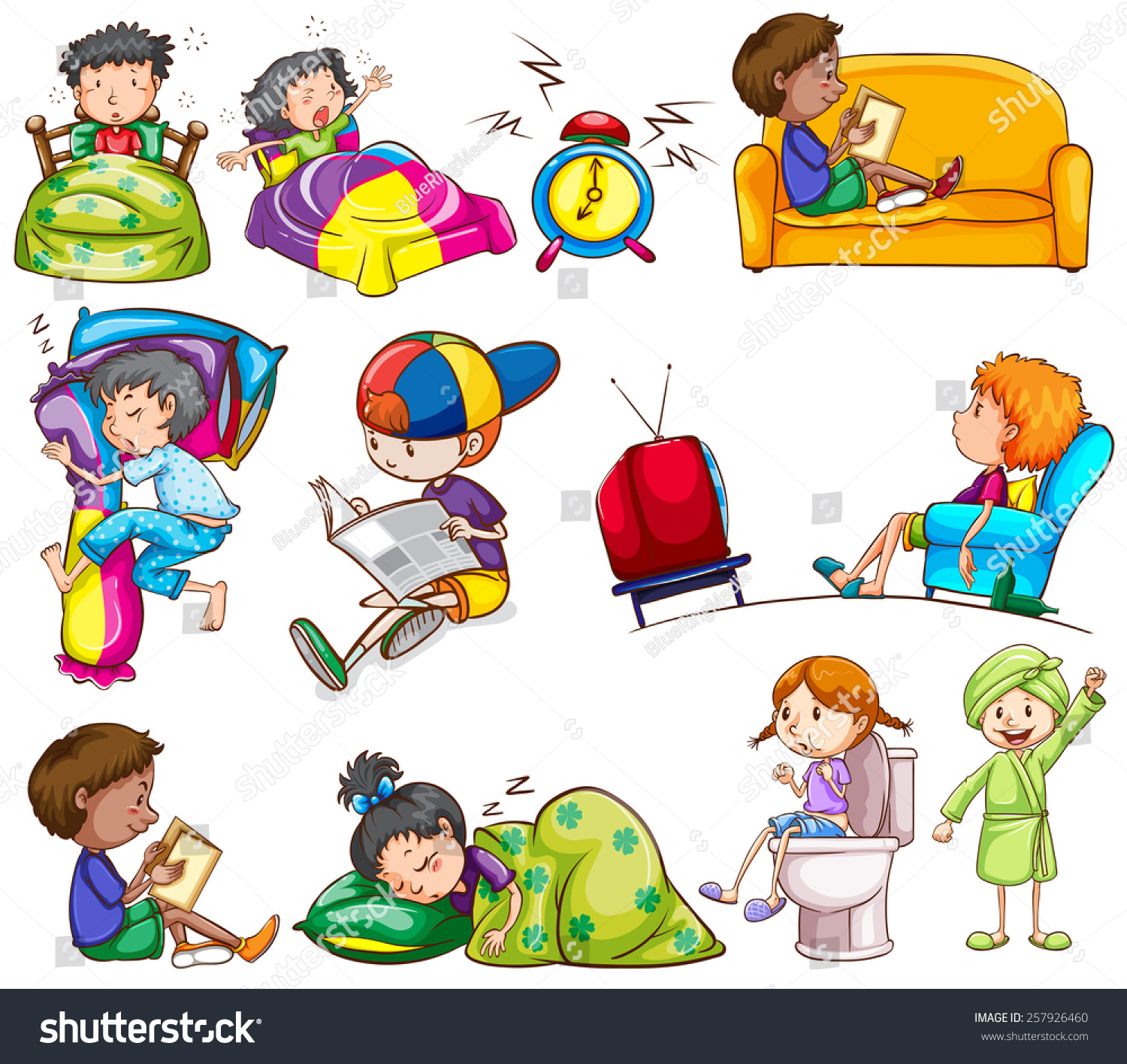 Daily Activities Of Kids On A White Background Stock