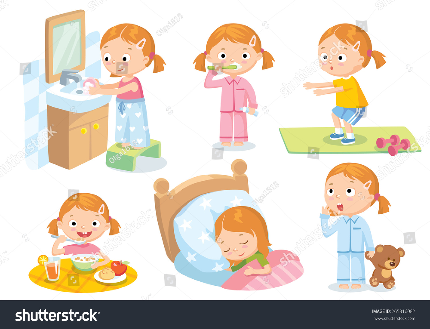 Daily Routines Kids Stock Vector